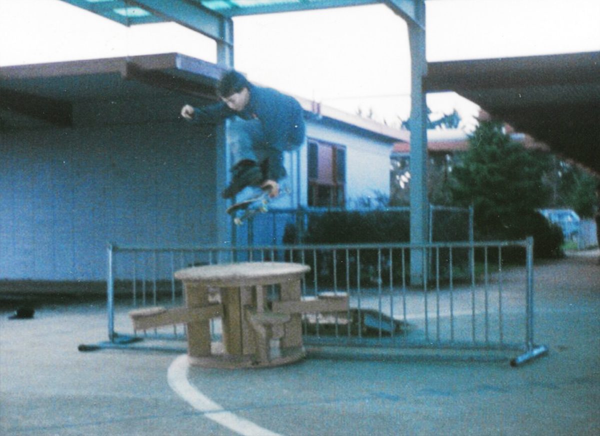 1990, the 2nd of August  One foot backside grab - The night the first Iraq war started, skated this spot and went home, my mom was freaking out as George Bush senior declared war on Saddam Hussein