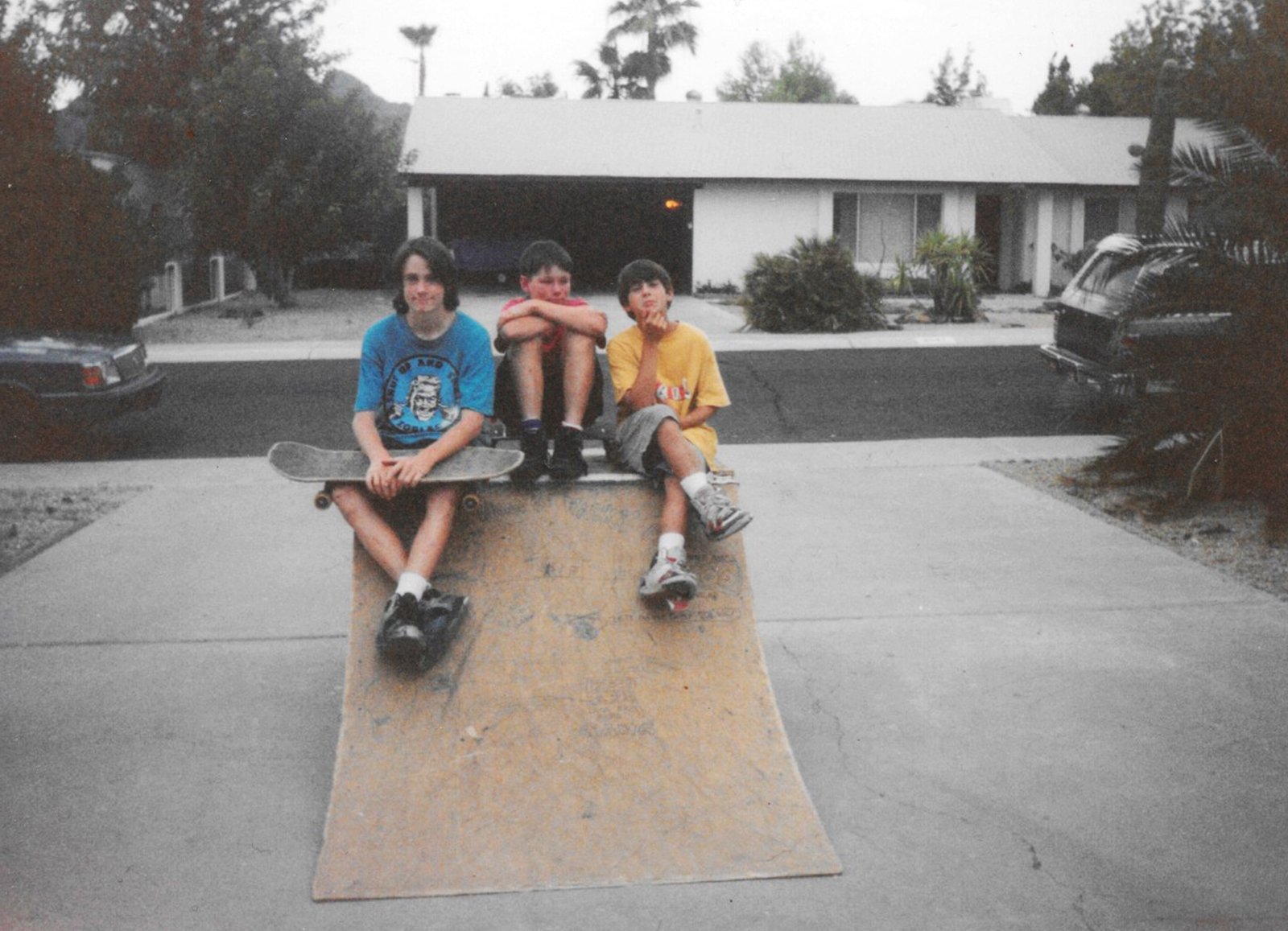 1989, Scottsdale Arizona  Scotty Copalman, his brother Joe and I in their driveway. Scotty was on Blind flow at this time, first time I was exposed to sponsors rippers. Scotty was so sick, he re surfaced on the first Zero lineup