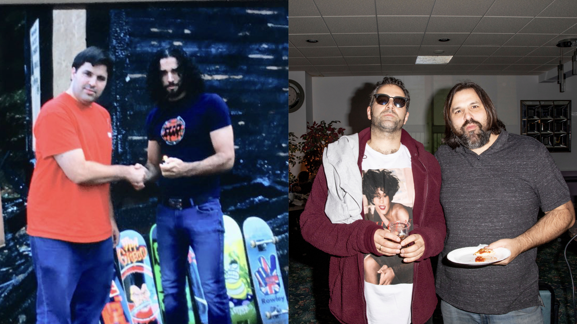 Then and now - Coliseum founding fathers Matt Roman and Arty Vagianos.