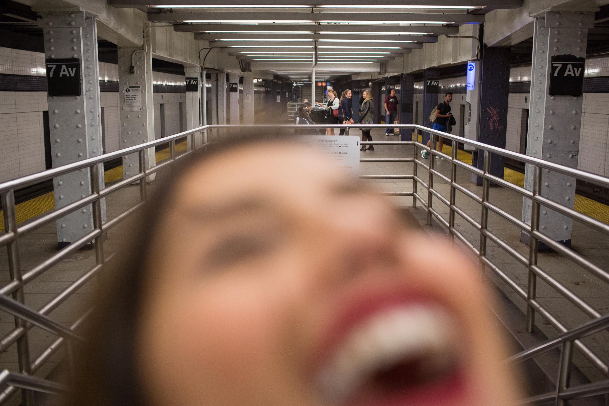 Late night train station in Brooklyn, N.Y. on Oct 21, 2015.