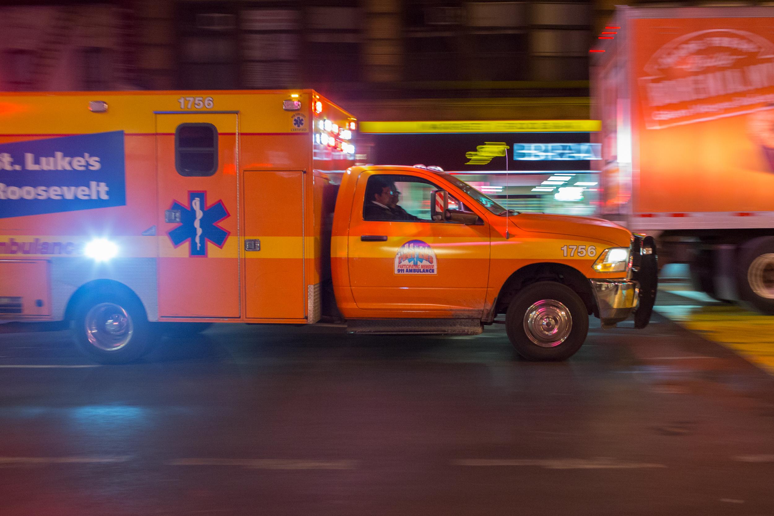 Ambulance en route in Manhattan, N.Y. on Oct. 23, 2015.