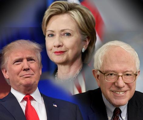 Hillary Clinton, Donald Trump y Bernie Sanders