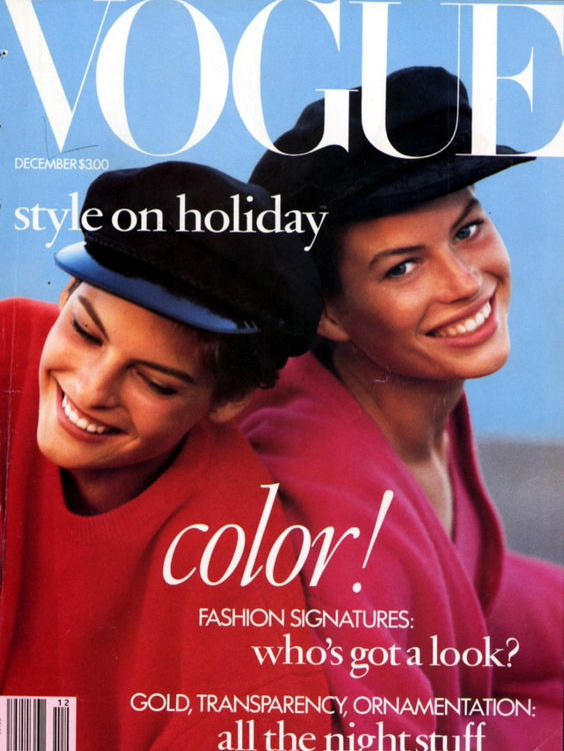 Vogue (US) December 1988 | Linda Evangelista & Carre Otis