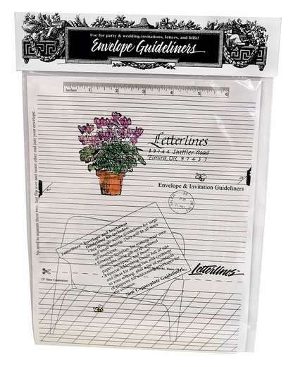 Letter lines address guide inserts include not only horizontal lines, but slanted lines... GREAT for beginners who need this reference underneath their paper/envelopes.