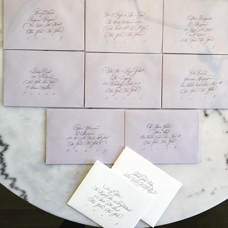 Envelopes hand addressed by Meghan Markle for Robin Thicke and Paula Patton's nuptials. Source:  Reddit