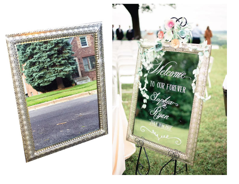 """22"""" x 28"""" Gold lace pattern frame. Very intricate. Nice for an intimate seating chart or a welcome mirror. $35 