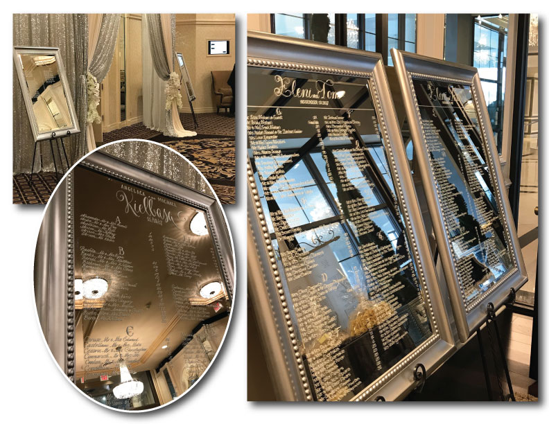 """Silver beaded frame twins. Great side by side for larger lists. 30"""" x 40"""" silver mirror(s). Great for seating or Welcome. $45 ea, rent both for $75 