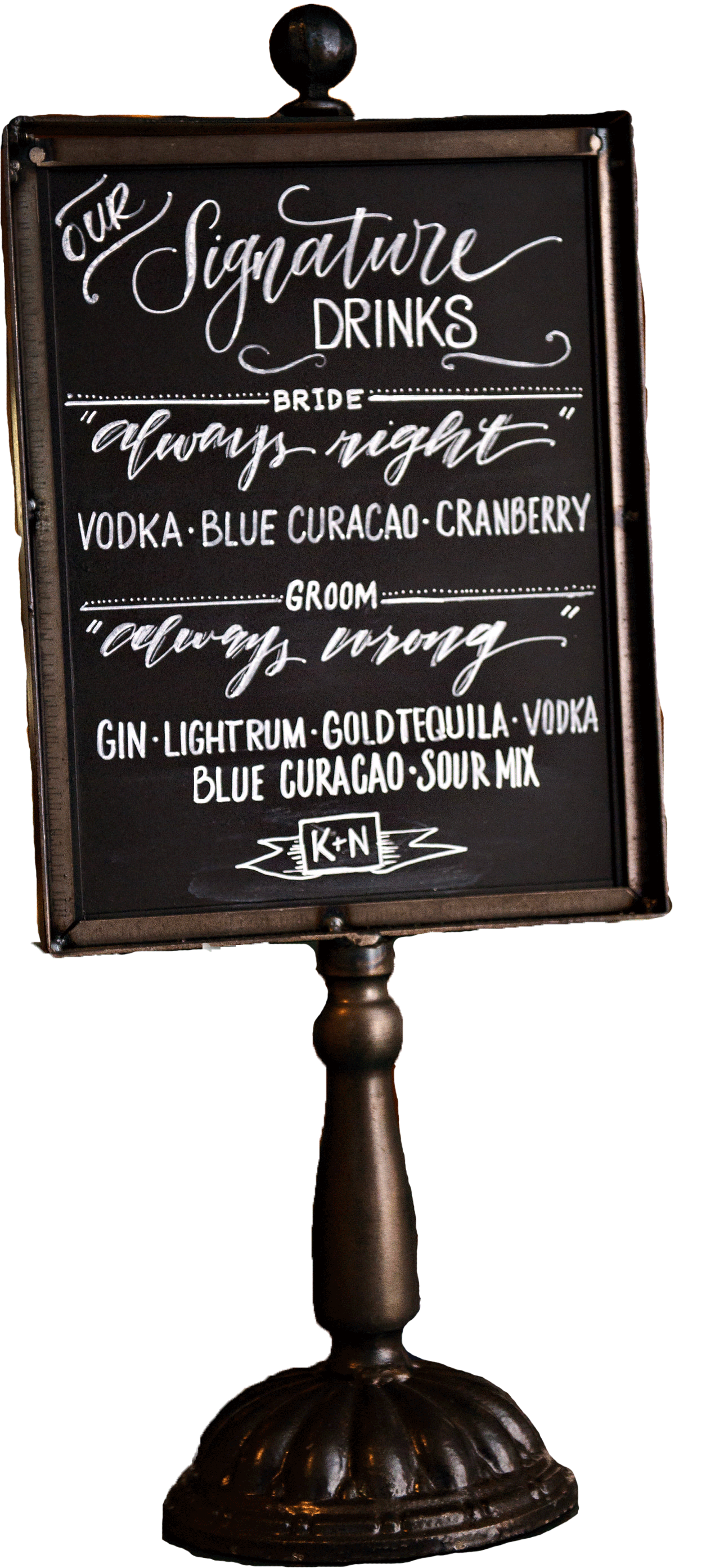 "Metal chalkboard bar sign. Perfect for Signature Drinks or Menu. 8.5"" x 11"". $25 ea. 