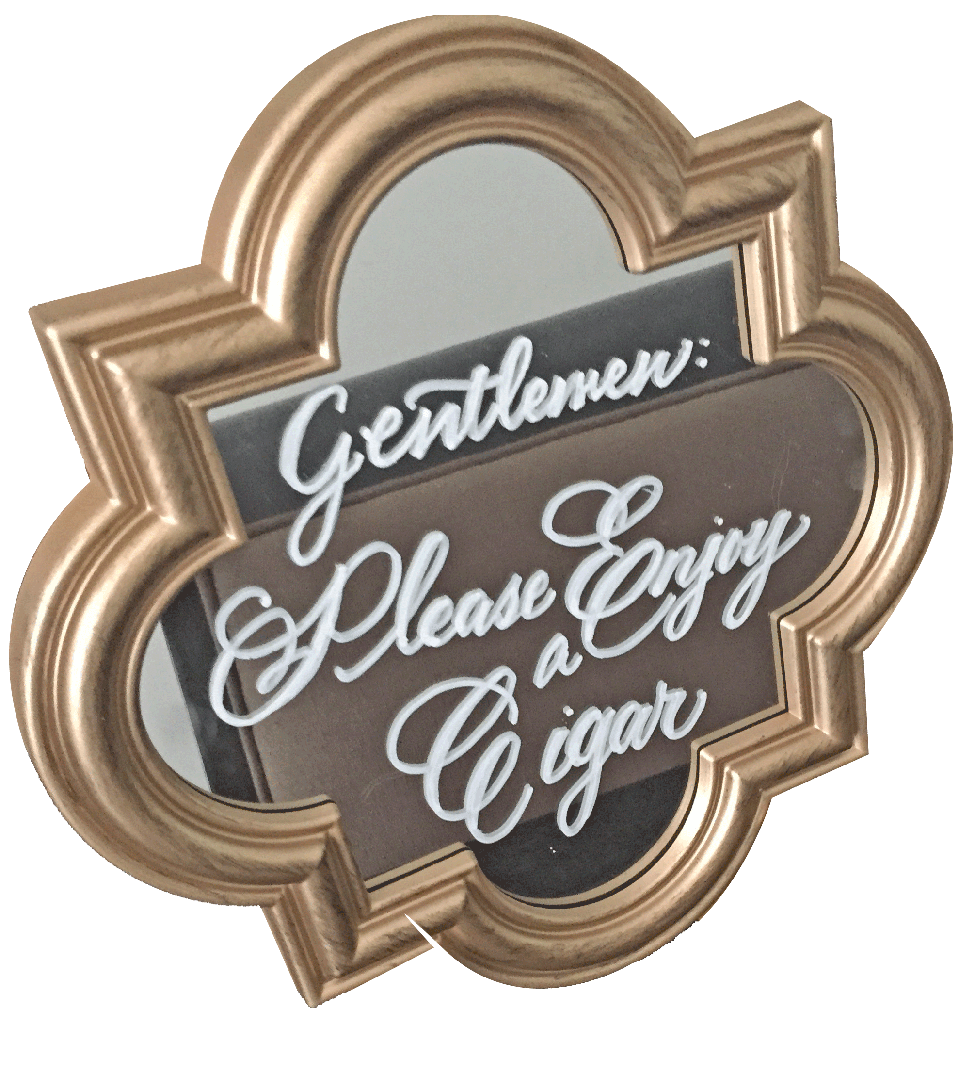 """Gold, bracket shaped sign. 8.5"""" x 8.5"""". Easel included. $10 ea. 