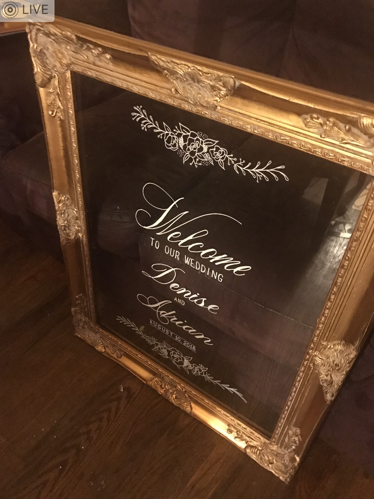 """Gold ornate frame with acrylic insert. Item# AC001 24"""" x 36"""" size. $70"""