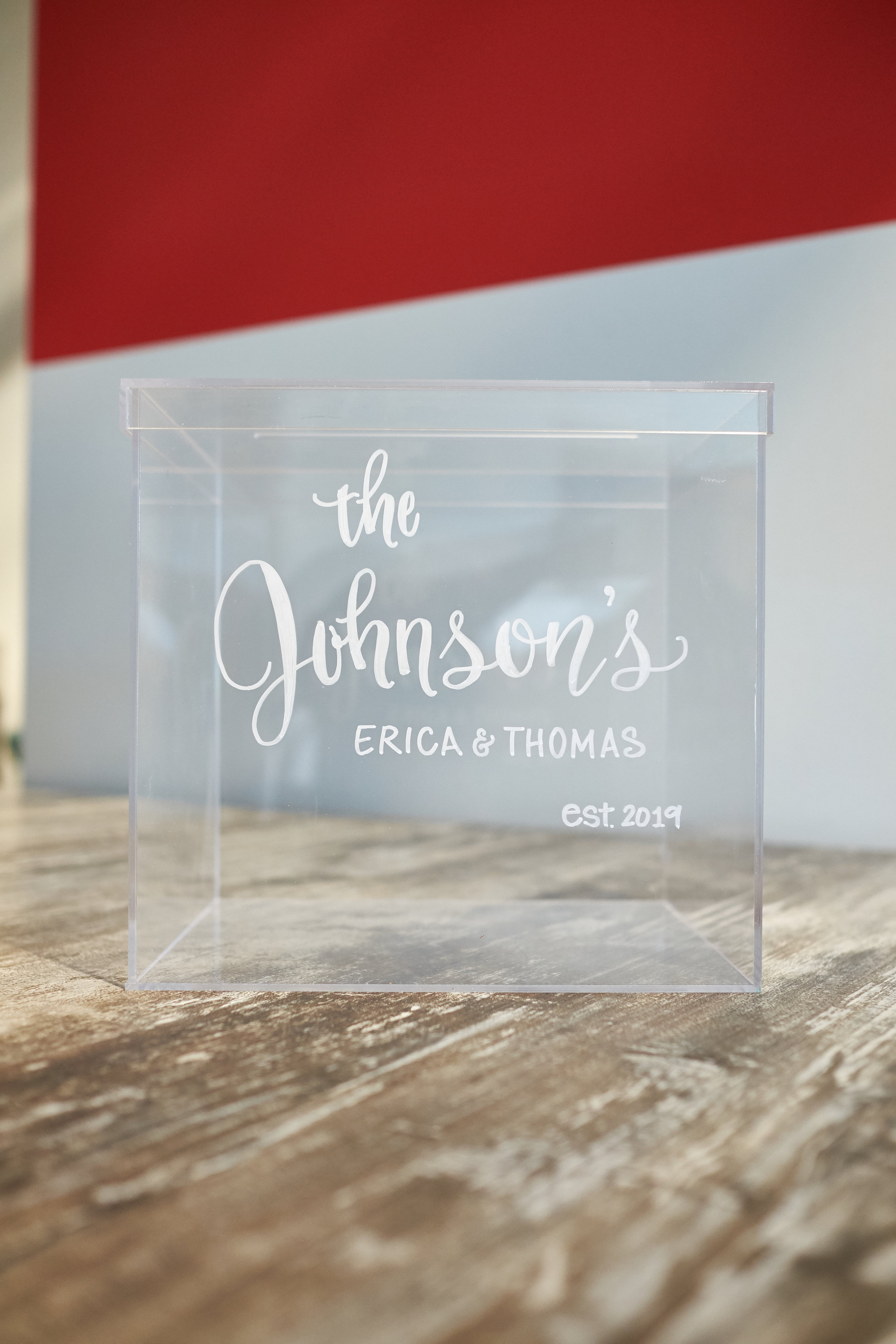 """Acrylic gift card box with removeable lid. Dimensions: 9.75"""" x 9.5"""" x 8.25"""" inches 