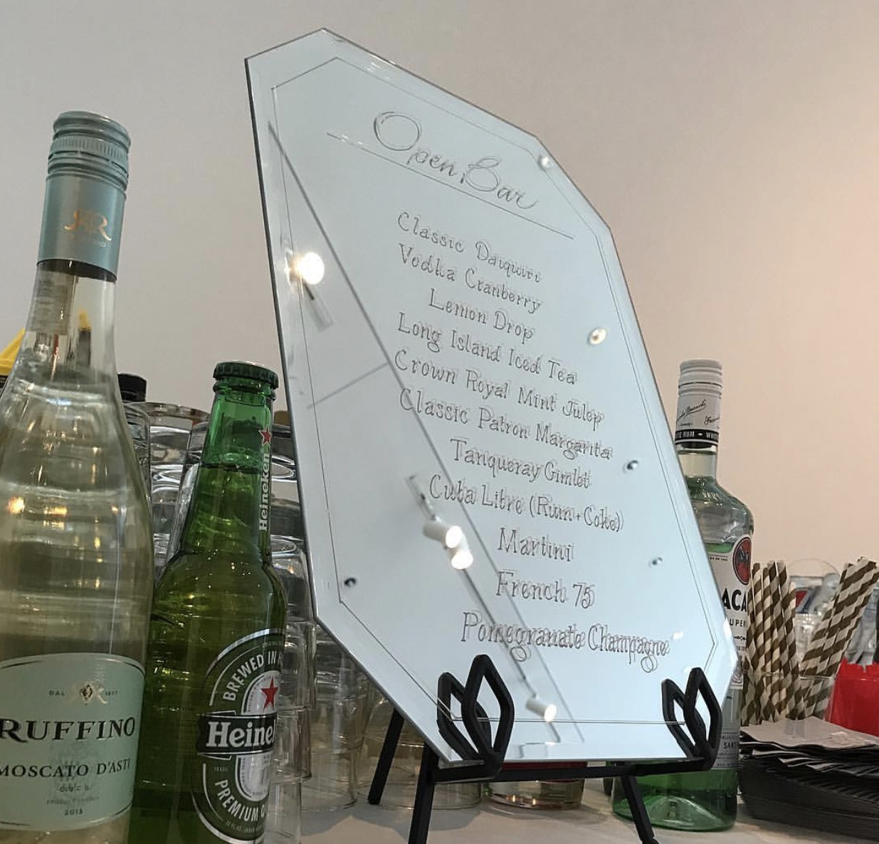 """11.75"""" x 18"""" tabletop sign. Easel included. Frameless. $20. 