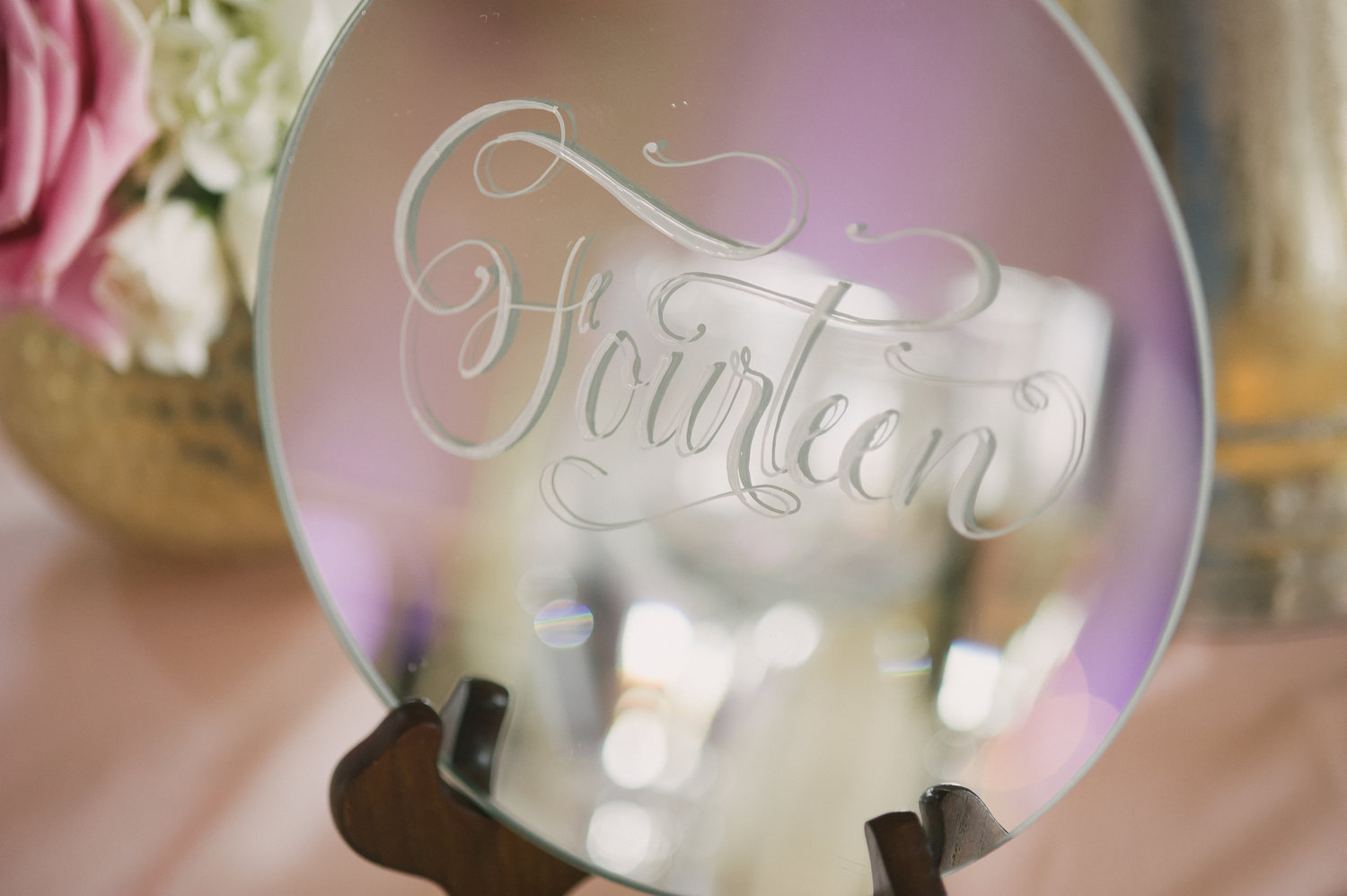 """8"""" circular mirrors for any table. Your guests tables (table numbers). Your dessert table. Station identifier.  Easels included. 