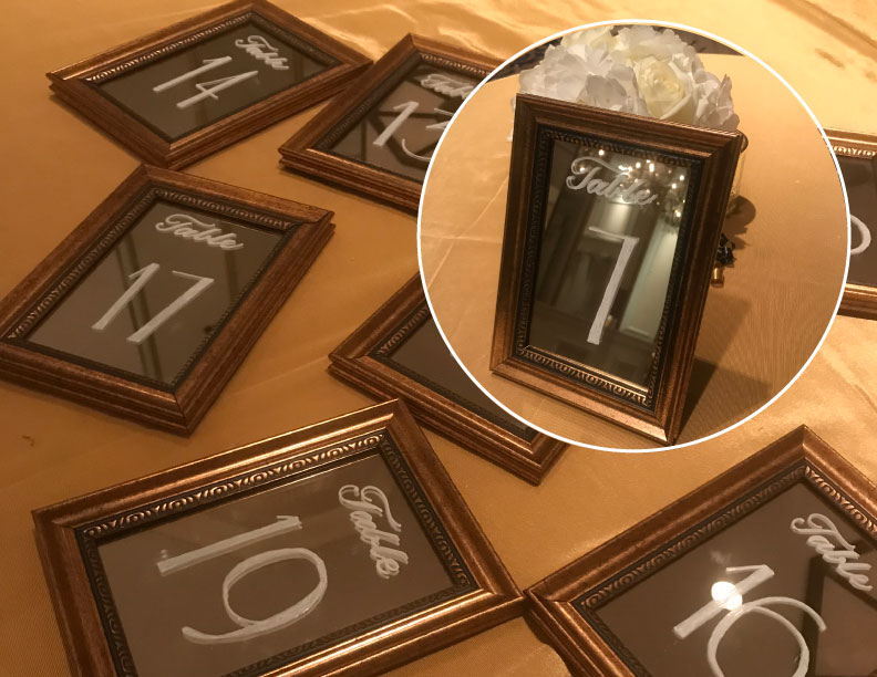 """4"""" x 6"""" Art Deco antique gold frames with mirrors. Self easel. Perfect for your tables. $3.25 ea + lettering. 