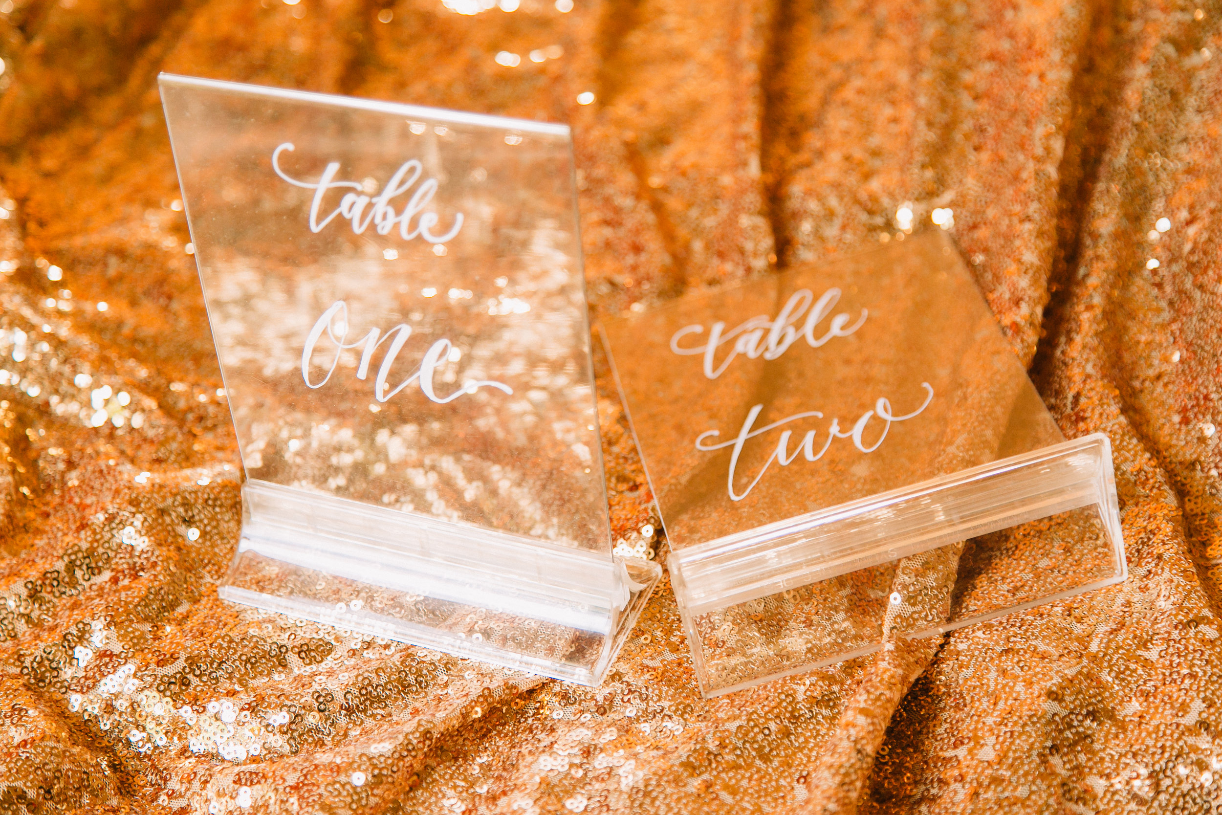 """4.75"""" x 5.5"""" acrylic table numbers in acrylic bases (qty. 30) - $3.25 ea + lettering cost"""