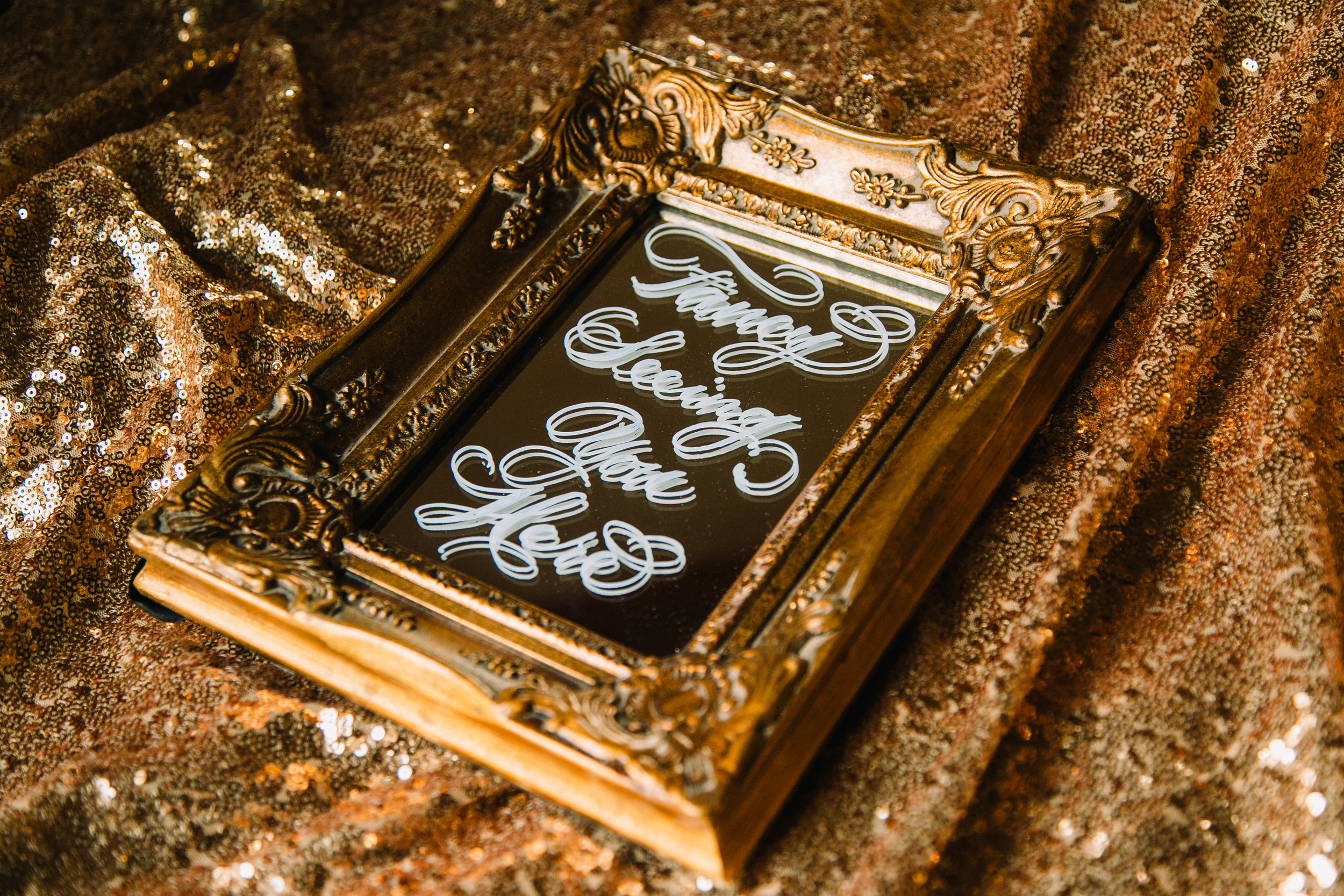 """4"""" x 6"""" ornate gold mirror. Great for guestbook, cards and gifts, social media hashtag, etc. Built in easel. $25. 