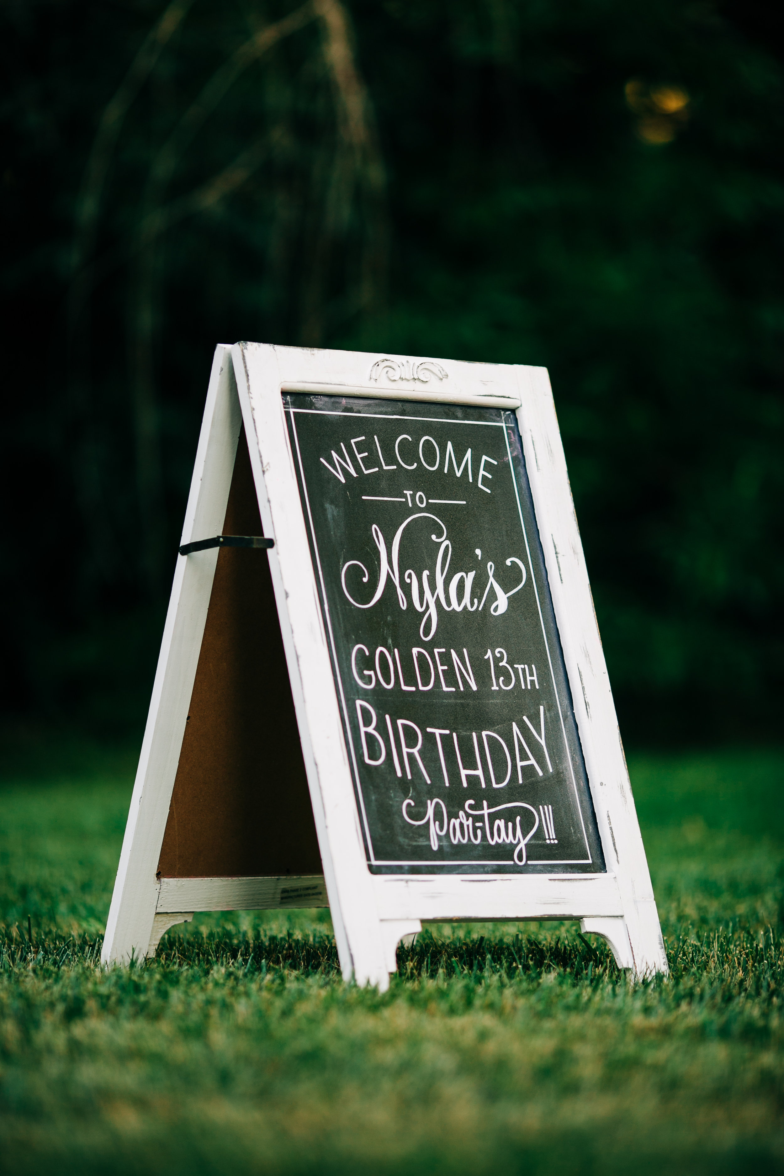 "Sandwich board. 17"" x 30"". White distressed frame finish. $20 
