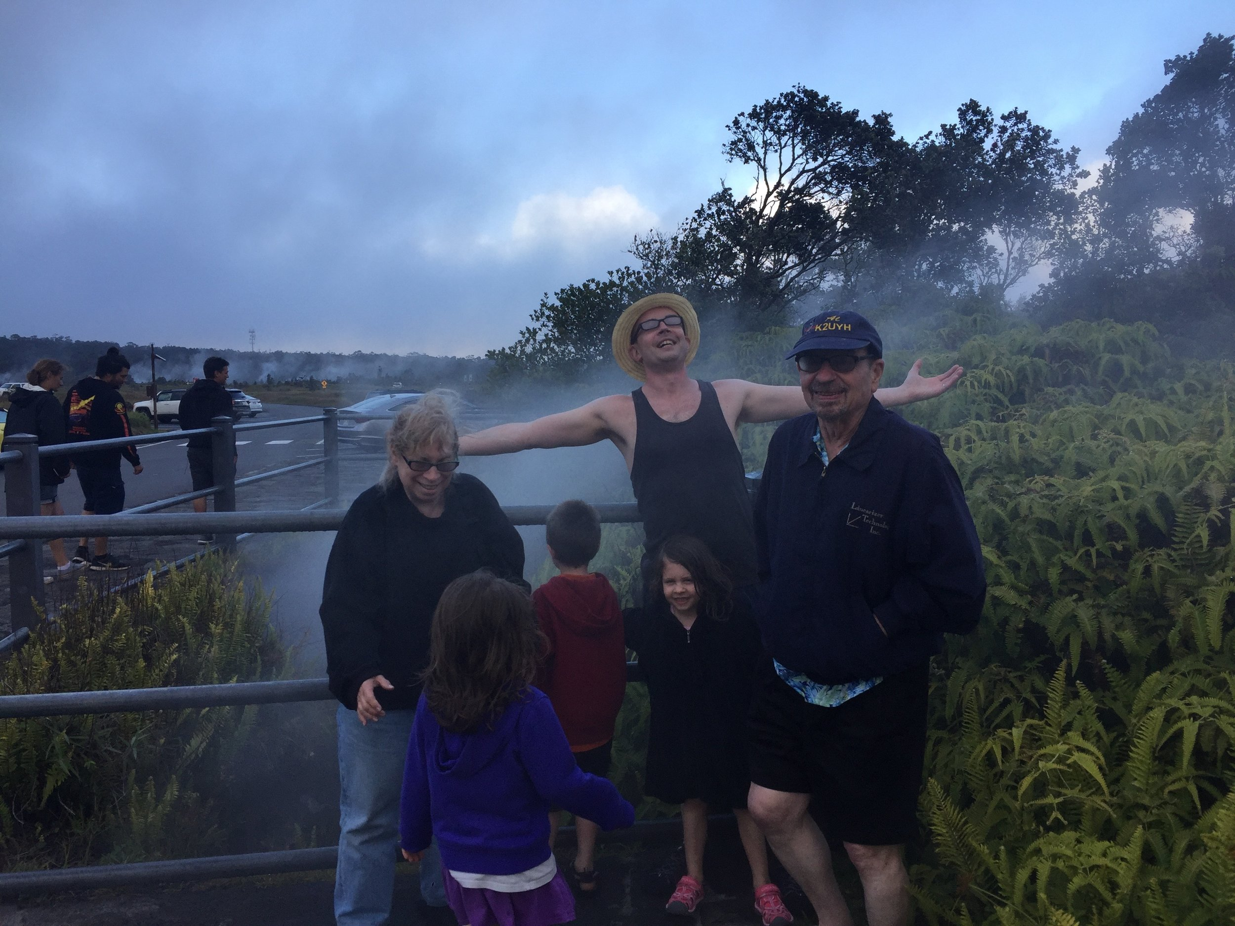 Warming ourselves in a steam vent at Hawai'i Volcanoes National Park