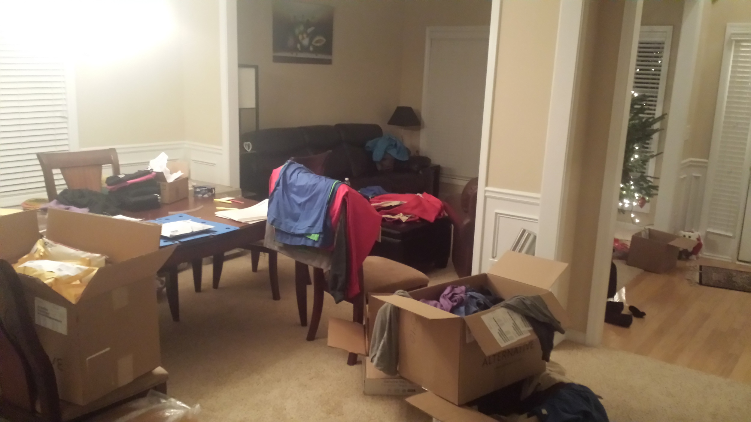 Our first folding and shipping area formerly known as the dining room.