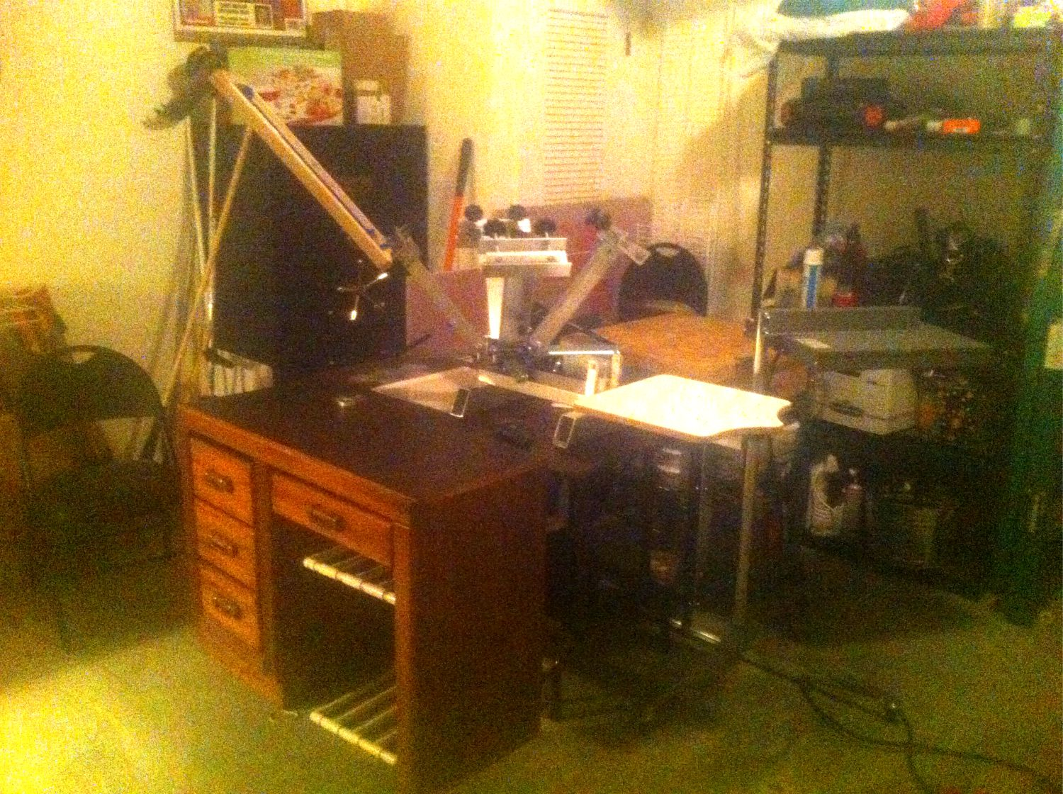 Our first print shop located in the garage. It was the perfect setup to learn on.