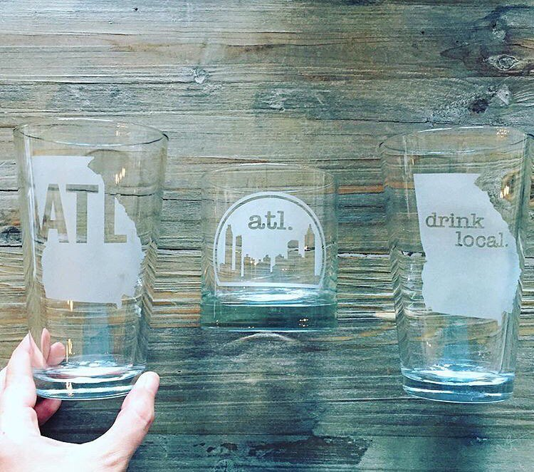 A better look at some of our Atlanta themed glass designs.