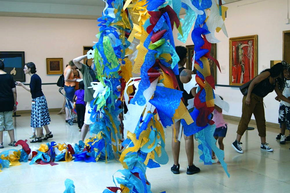 """""""The Wave,"""" Susan Hoffman Fishman and Elena Kalman. Polycarbonate Film and Parachute Cord. Site Specific Installation, The Wadsworth Museum of Art, Hartford, CT, 2014."""