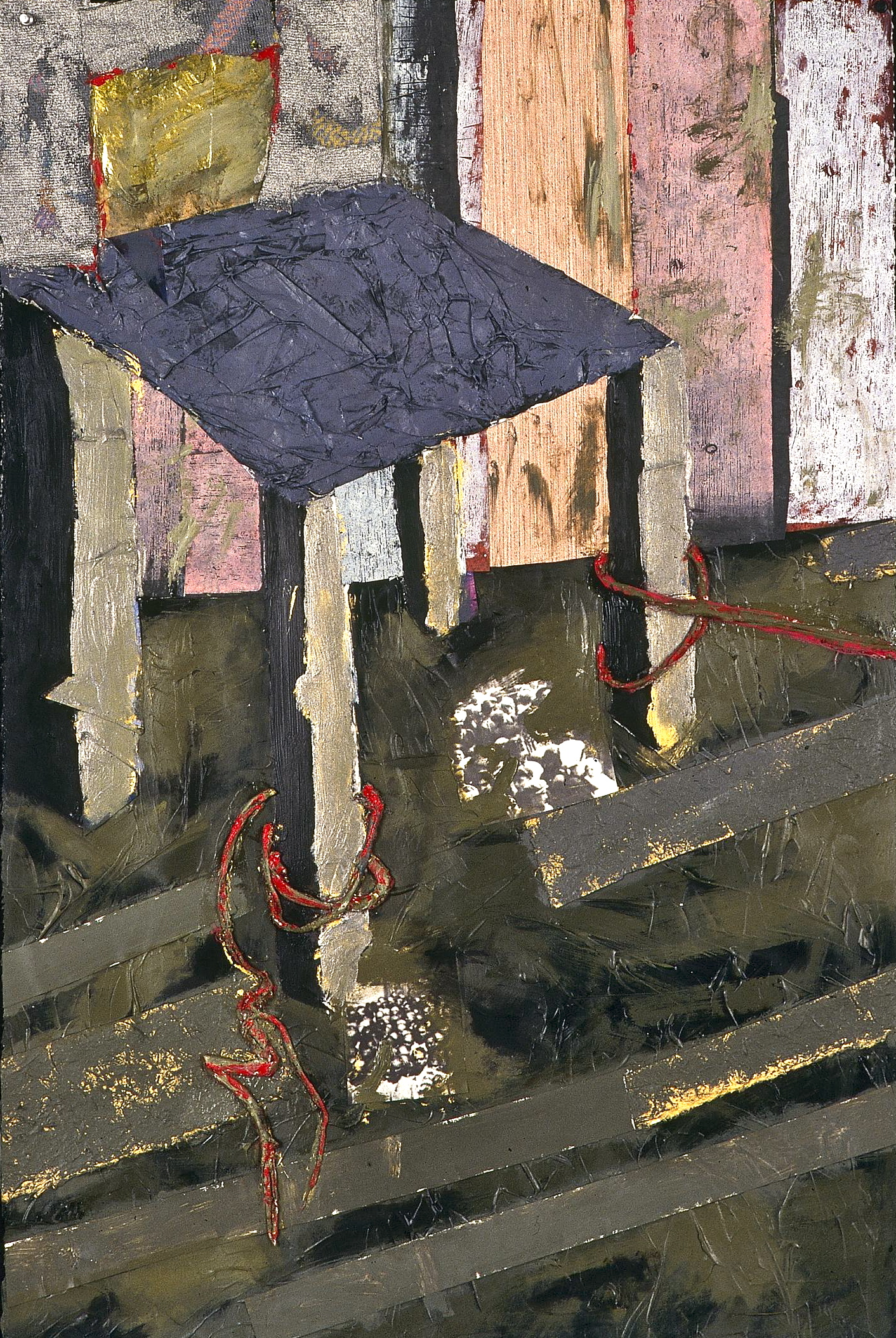 """""""Waiting Room III,"""" Susan Hoffman Fishman, Acrylic and Mixed Media on Paper, 1992, Collection of the William Benton Museum of Art, University of Connecticut, Storrs, CT."""