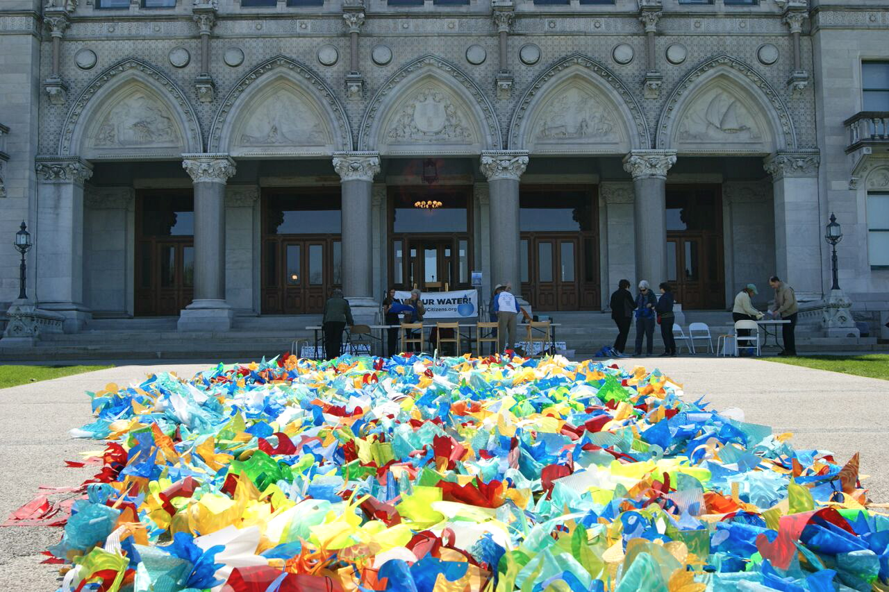"""""""The Reservoir Wave,"""" Susan Hoffman Fishman and Elena Kalman. Polycarbonate Film and Parachute Cord, Site Specific Installation, Connecticut State Capitol, Hartford, CT, May, 2016."""