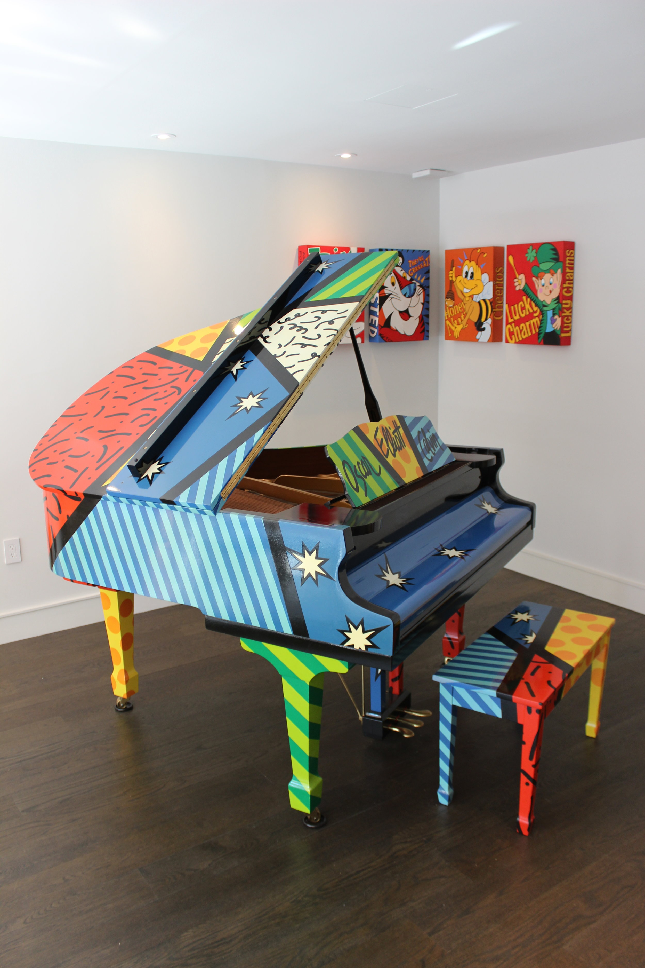 """ Listening is key in creating! People will tell you what they want, you just have to listen"" This piano and artworks are a product of a sit down meeting with a 4,6,10 yr old."