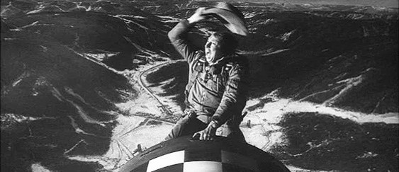 A scene from Stanley Kubrick's  Dr. Strangelove, or: How I Learned to Stop Worrying and Love the Bomb