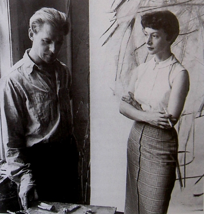 Elaine and Willem de Kooning in their studio  (paintings by Lee Krasner and Elaine de Kooning were both featured in Women of Abstract Expressionism)