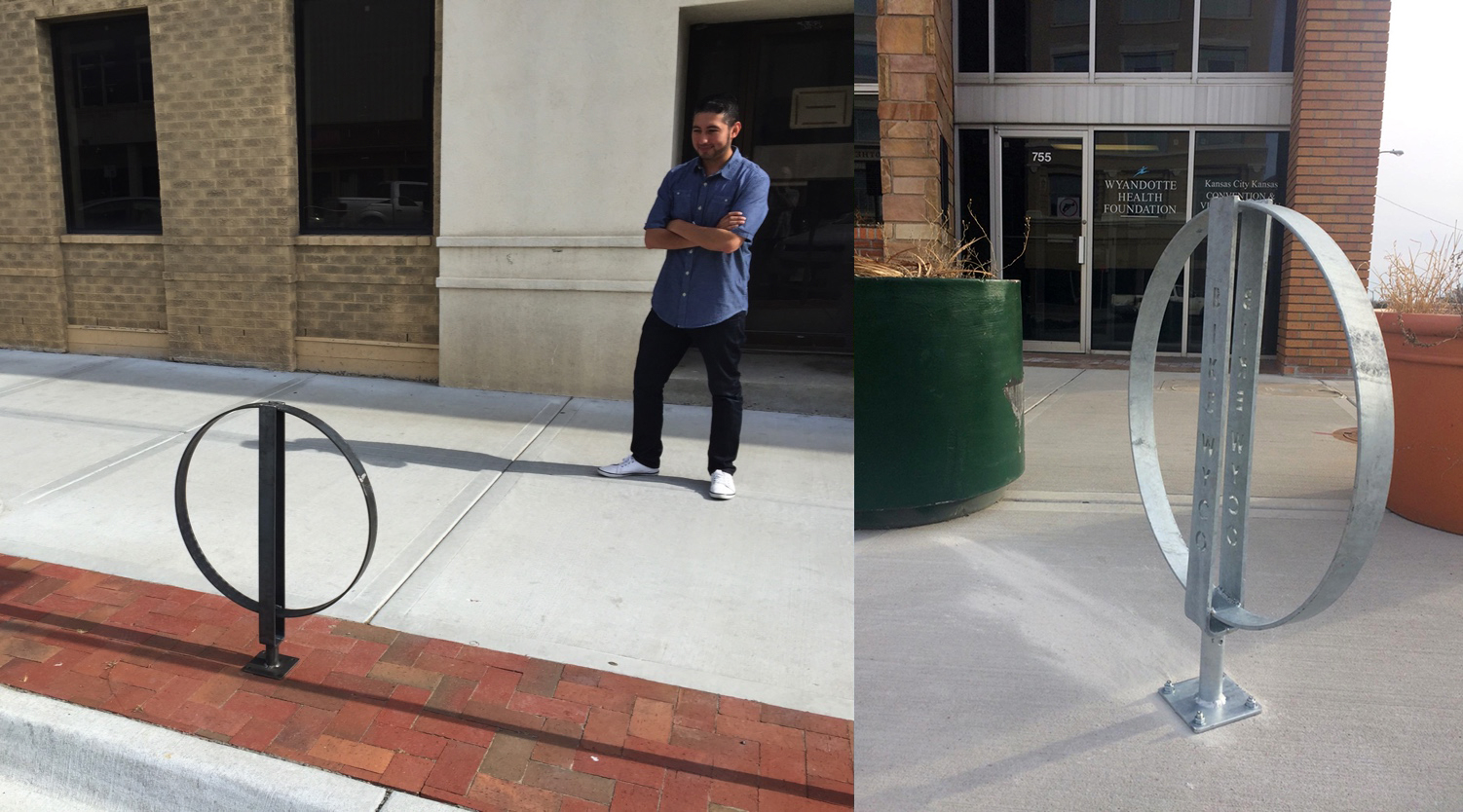 Initial prototype on the left, with Randy Lopez of Wyandotte Health Foundation. Final version is on the right.