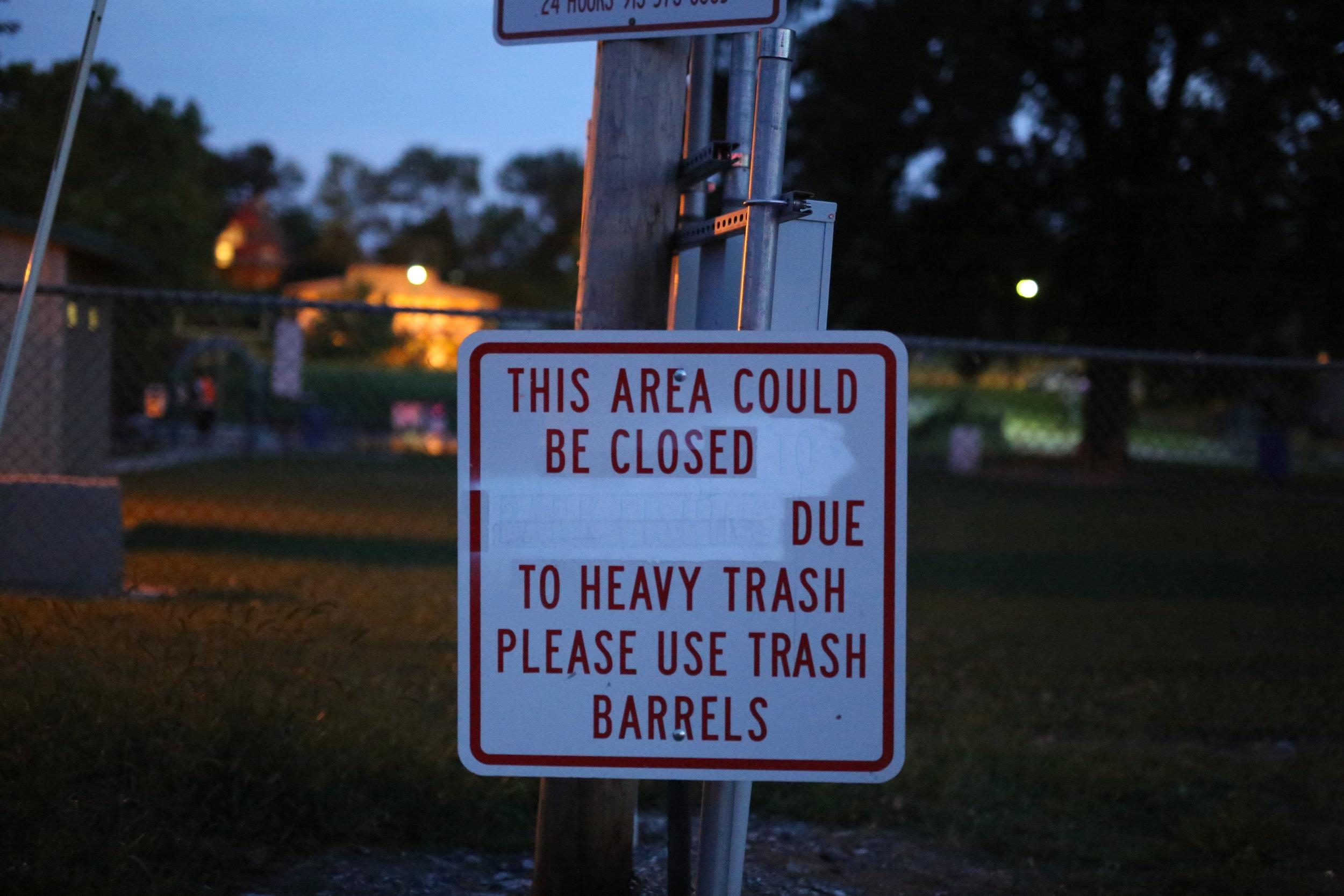 A sign facing the Spray Park parking lot.