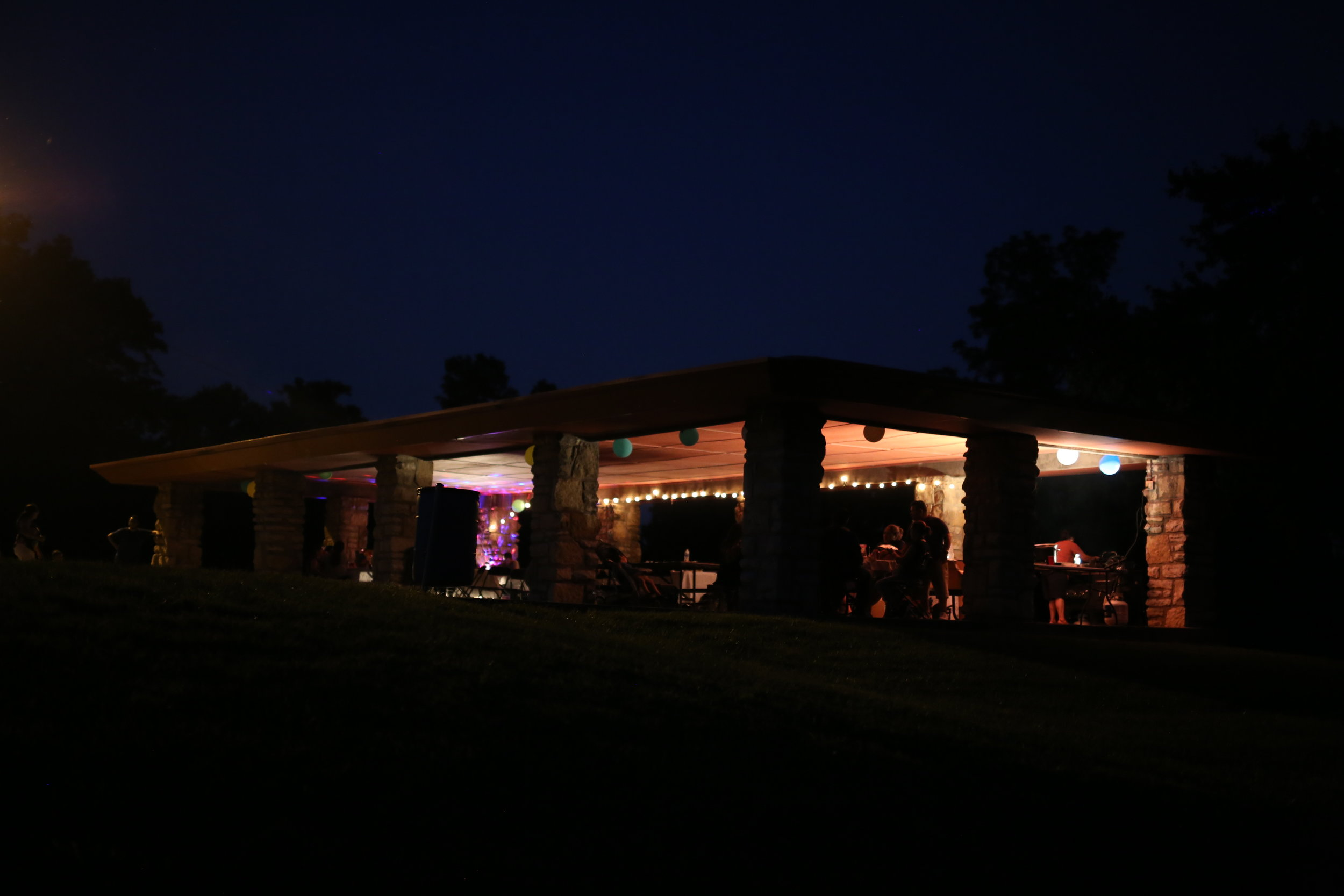 By bringing their own lights to the shelter, the park visitors made the space their own, even after dark.
