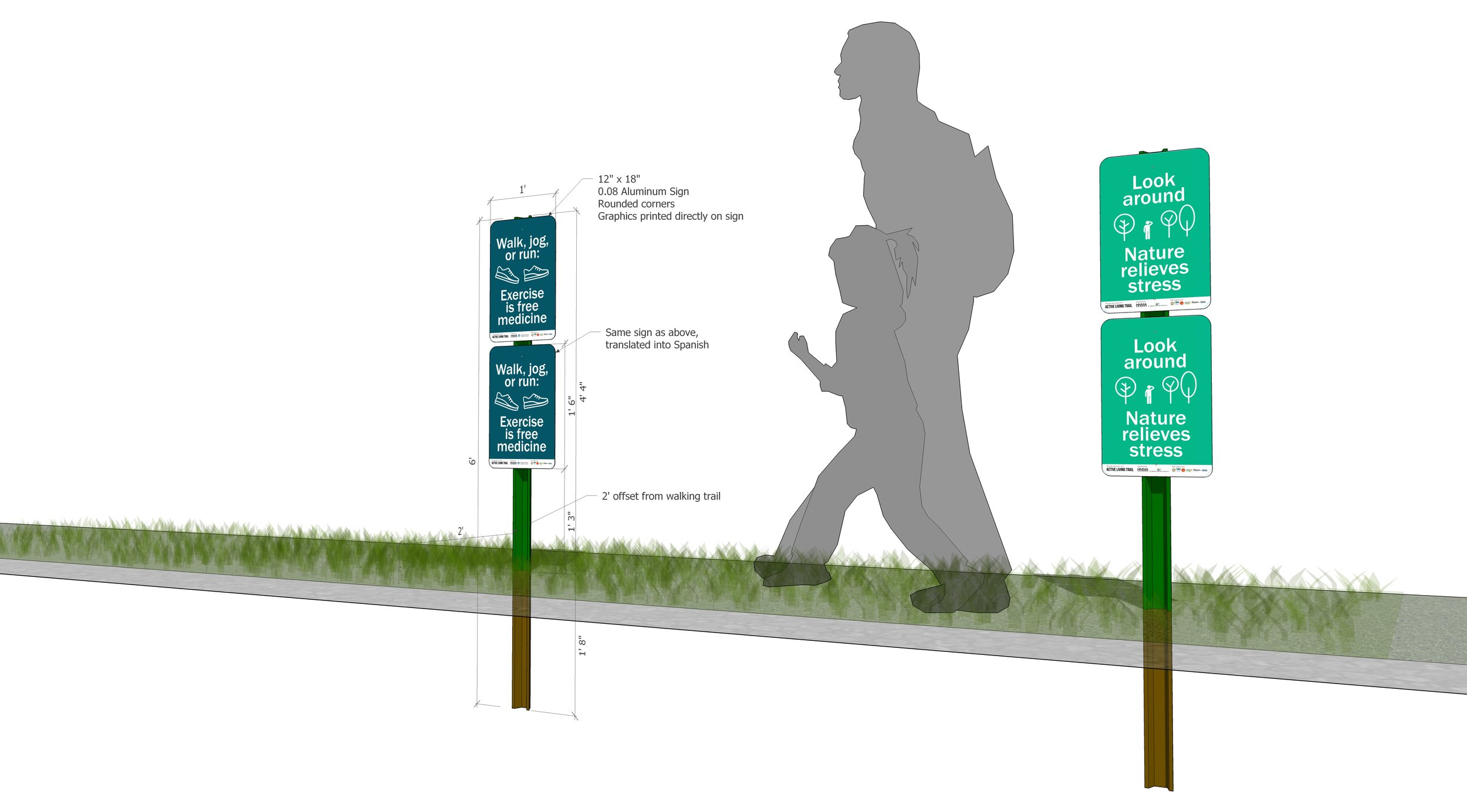 A rendering showing specific dimensions for Public Works.