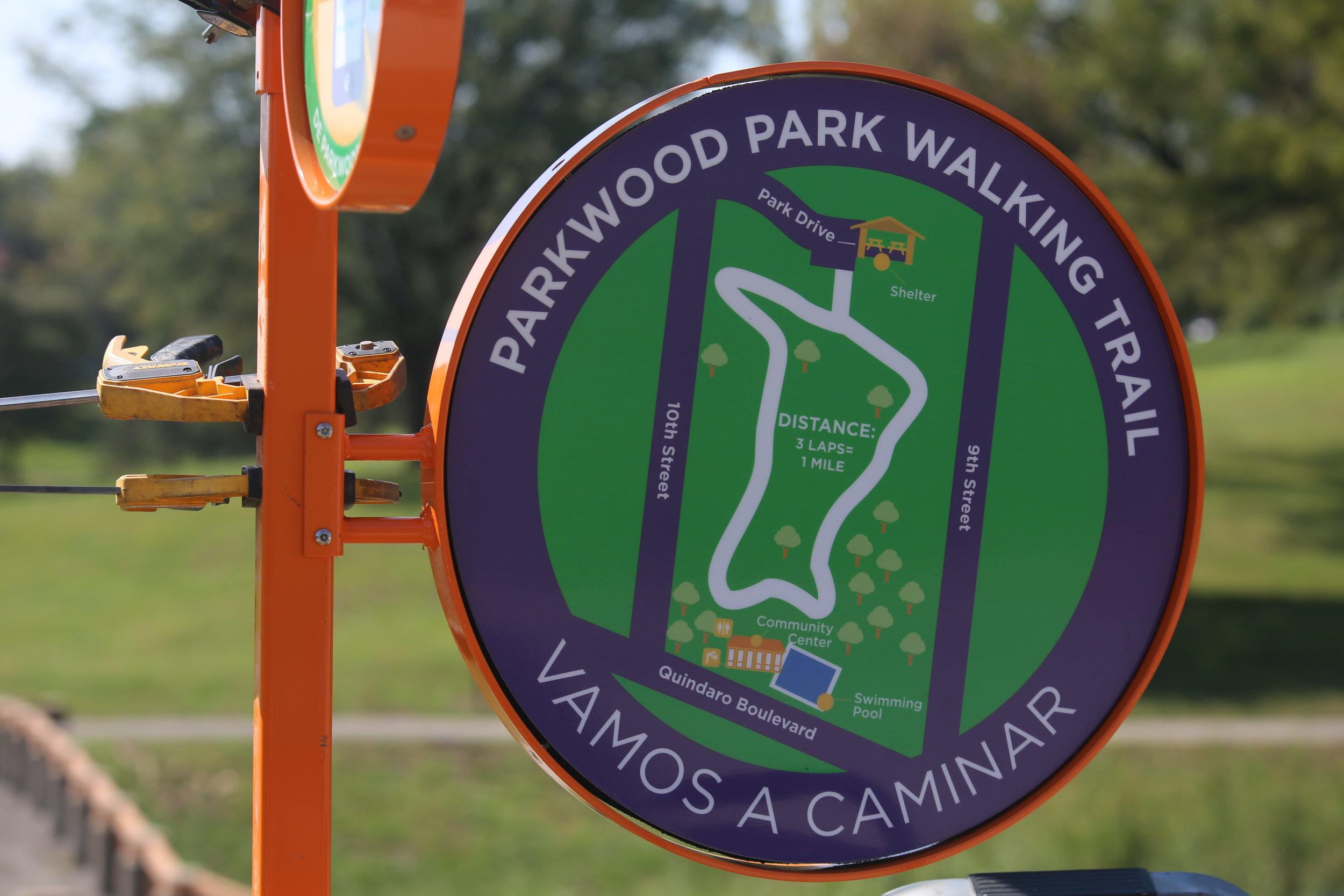 The Totem also includes a large map of the park and walking trail with references for wayfinding in and around the park.