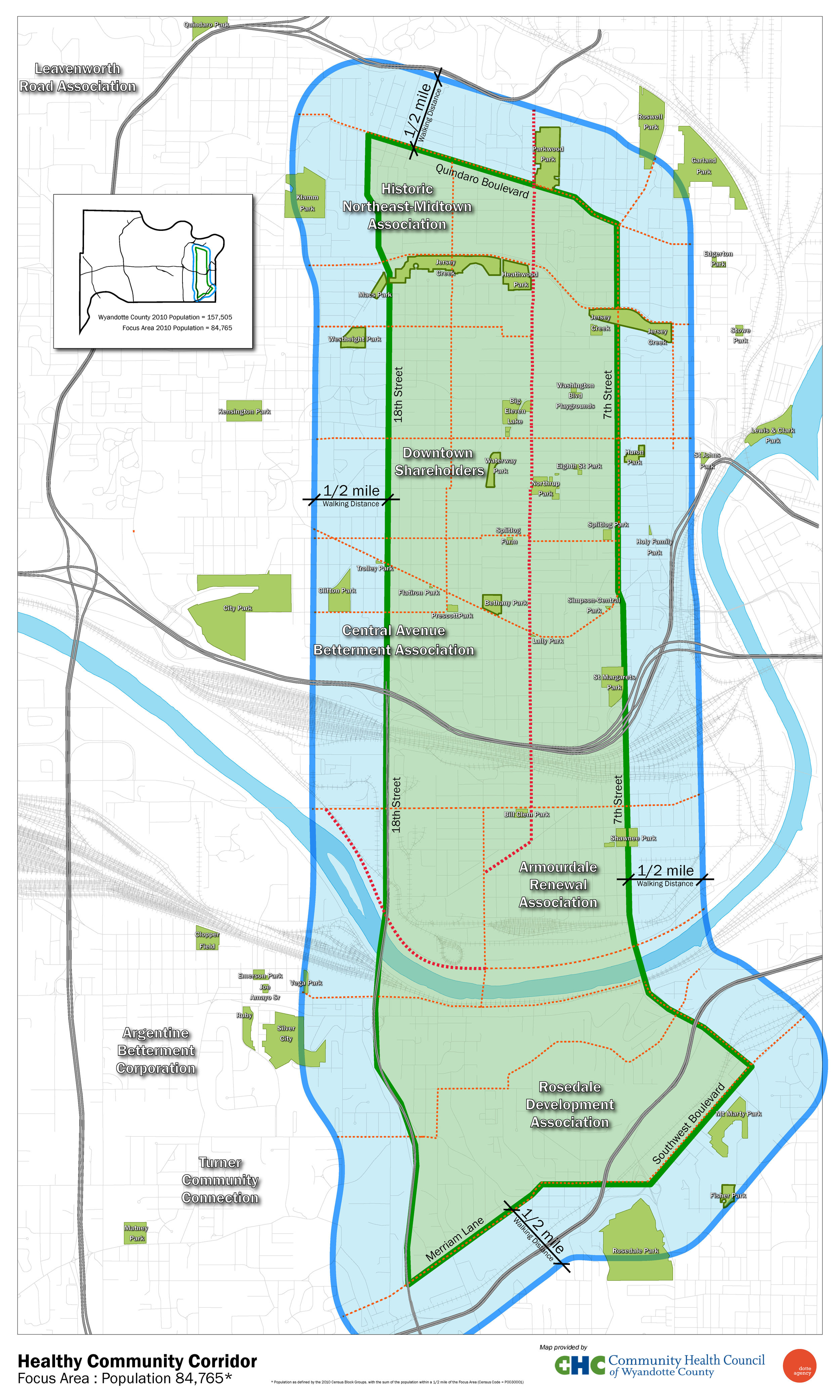 The Healthy Community Corridor, defined as those within walking distance of 10th street, and a 1/2 mile buffer from there.