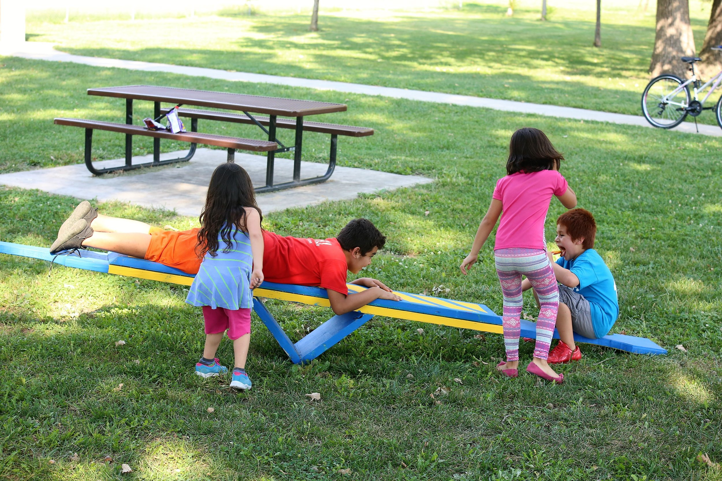 Kids found creative ways to use the active living park elements.
