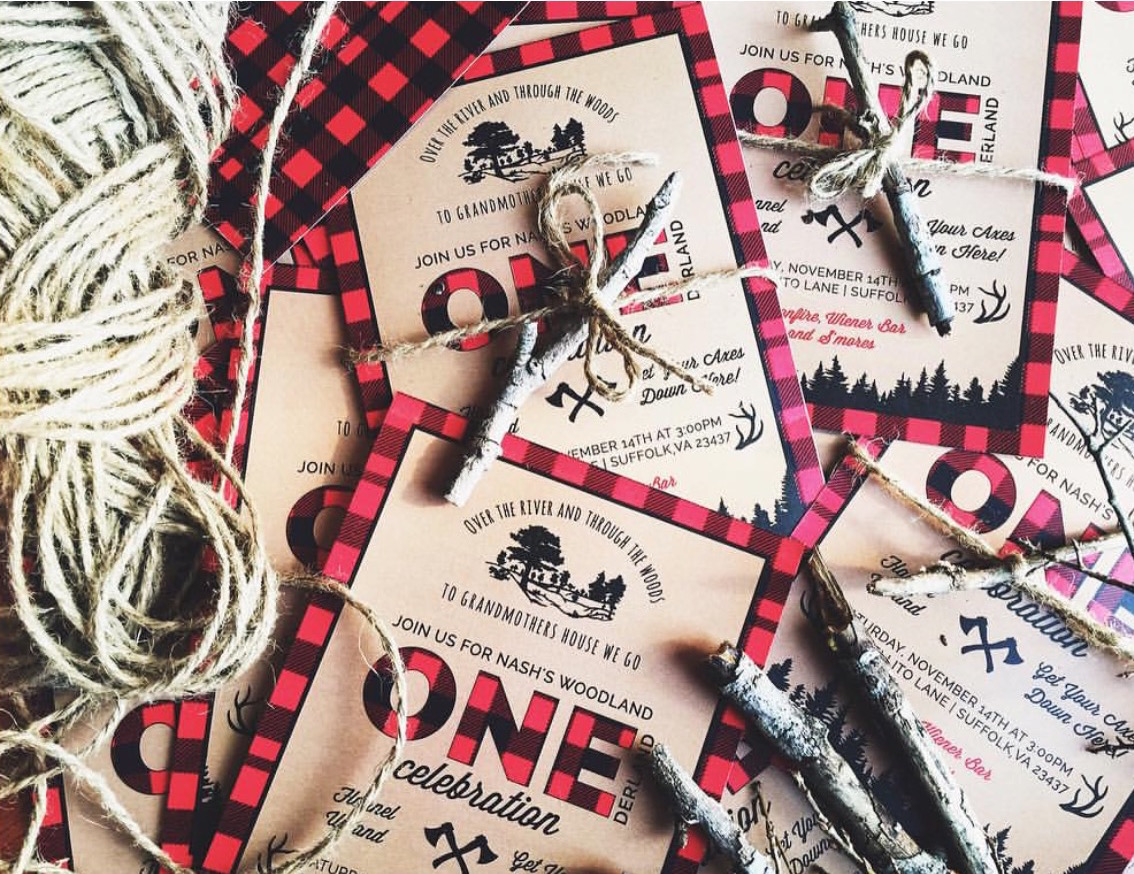 Lumberjack plaid invitations.JPG