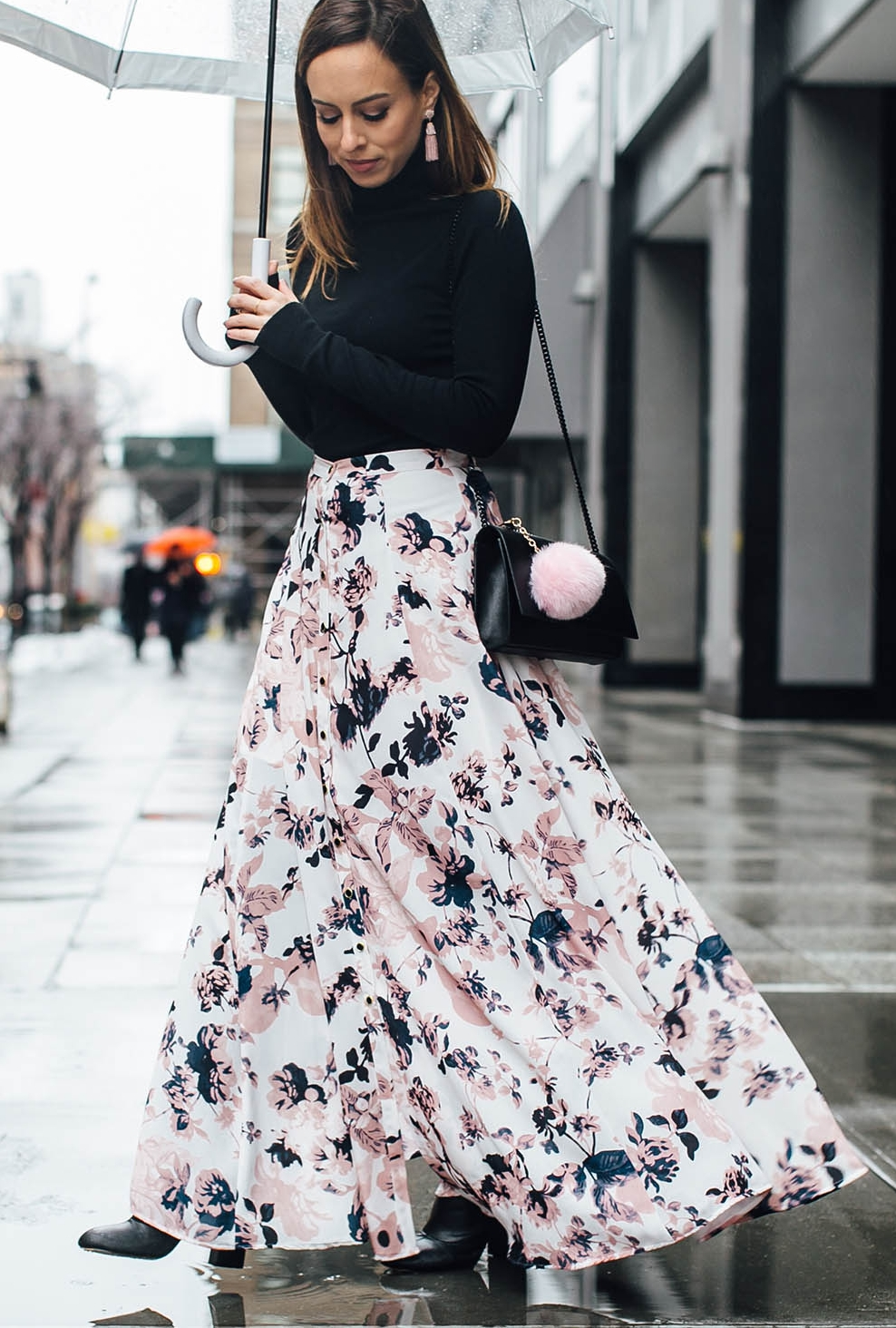 Sydne-Style-wears-Yumi-Kim-floral-print-maxi-skirt-with-black-turtleneck-for-fashion-week-street-style.jpg