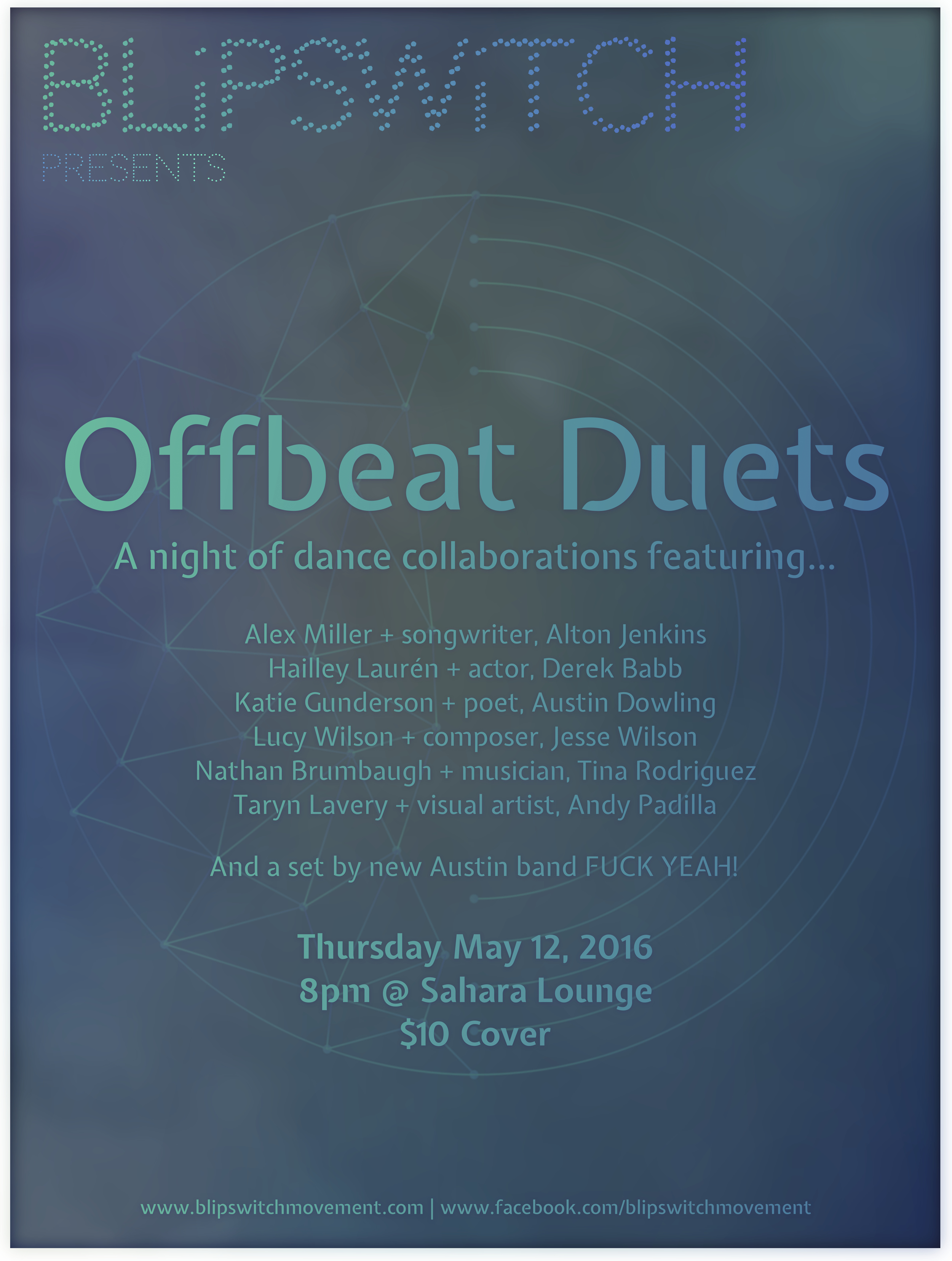 """Offbeat Duets - May 12, 2016Sahara Lounge. Austin, TXThis performance was the inaugural of what would become our """"Offbeat"""" series— hosting and presenting a new set of artists within the local community each time. We asked selected dancers/choreographers to work with at least one artist outside the realm of dance to create, within a month, an original work for a one-night-only performance held in an unconventional space."""