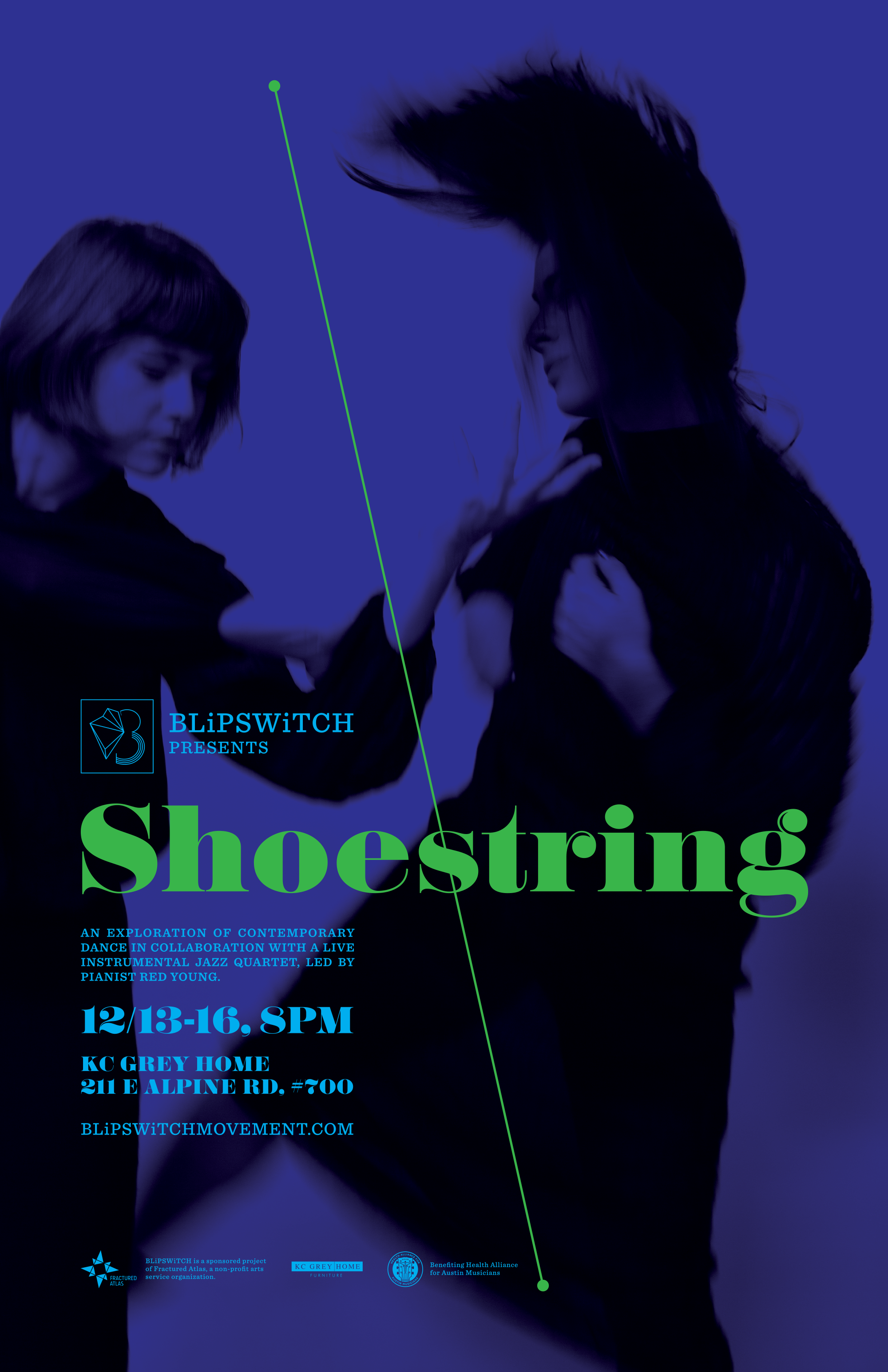 Shoestring - December 13-16, 2017KC Grey Home. Austin, TXShoestring brought contemporary dance together with a live instrumental jazz quartet, led by pianist Red Young. Each night featured new musicians alongside the seven dancers. The choreography explored the complex textures of the jazz genre, while leaving moments to expand into improvisation for in-the-moment conversations between the dancers and musicians.A portion of all ticket sales supported HAAM— Health Alliance for Austin Musicians.