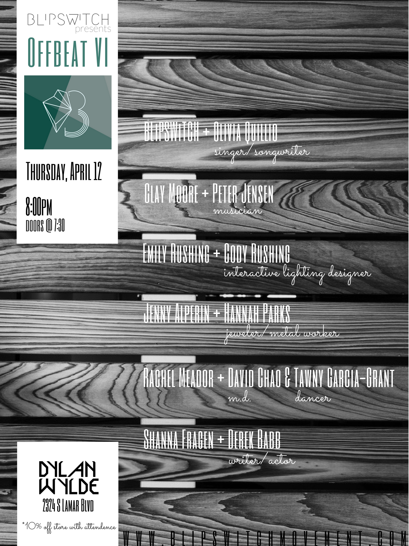BLiPSWiTCH presentsOffbeat VI - April 12, 2018DYLAN WYLDE. Austin, TX