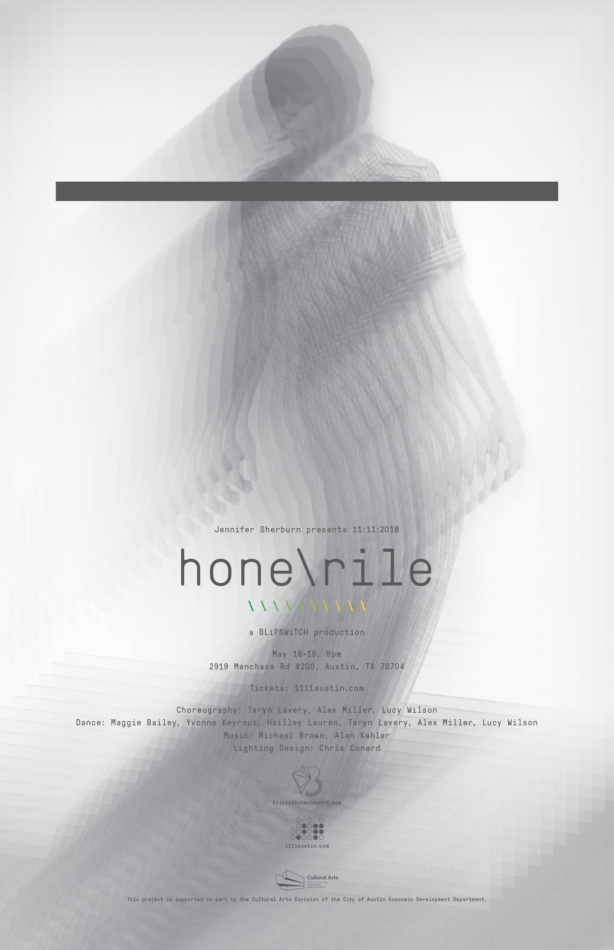 hone \ rile - May 16-19, 2018Austin, TXhone \ rile examined the friction between the material world and an idealized reality recreated through thoughts and hope. Held inside a vacant design showroom— alongside an original score performed live by composers Michael Brown and Alan Kahler of Solid State Dream Suit— six dancers animated themes of exhaustion, struggle and repeated failure through stamina, dynamism, tenderness and vulnerability.hone \ rile received a 2018 artist grant from Jennifer Sherburn, made possible by the Cultural Arts Division of the City of Austin Economic Development Department.