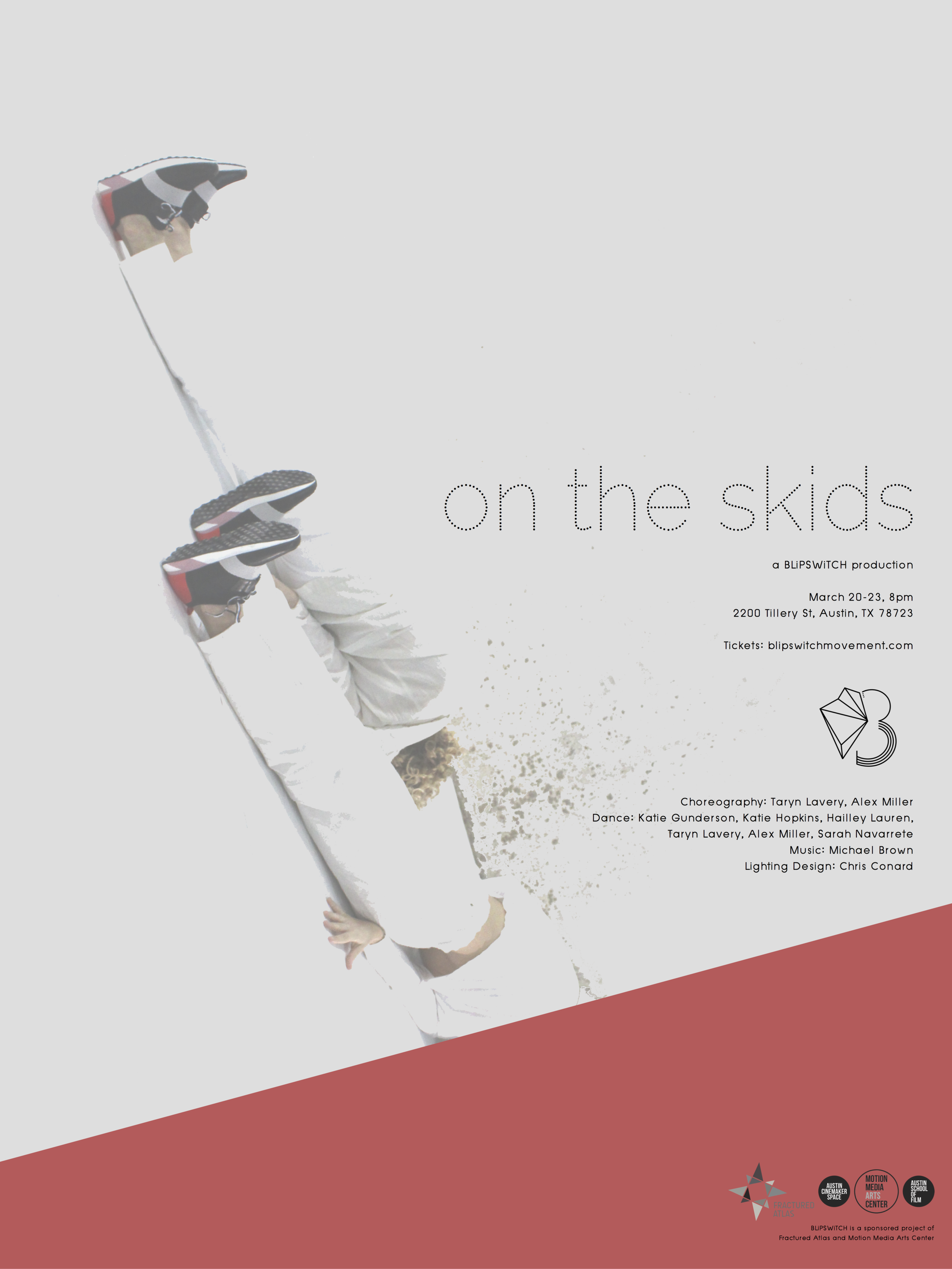 On the Skids - March 20-23, 2019Motion Media Arts Center. Austin, TXBorn from an examination of urban sprawl throughout Austin and the world, On the Skids dwelled in the liminal spaces, exploring the changes in our spacial and cultural landscapes and how those thresholds of time effect our own personal transformations.