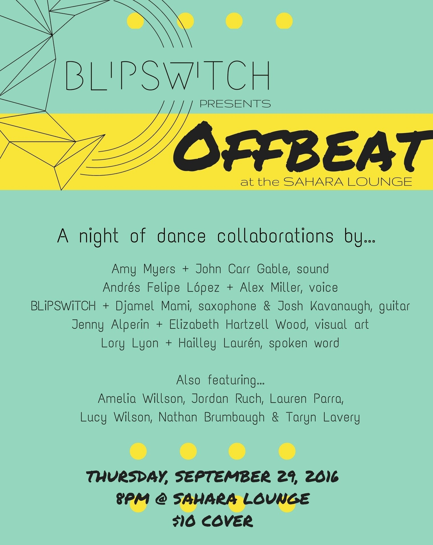 BLiPSWiTCH presents Offbeat II - September 29, 2016Sahara Lounge. Austin, TX