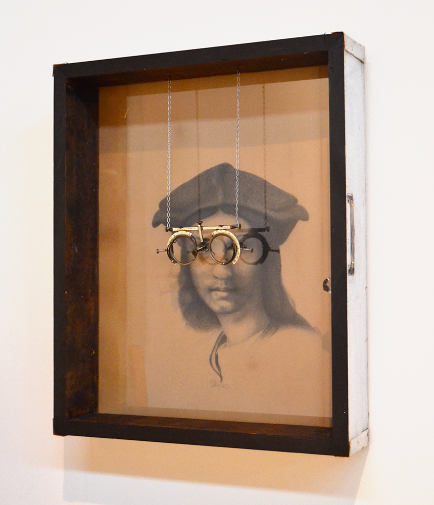 016 – Introspectacles,  2014 Mixed media 20 x 16.5 x 3.5 inches