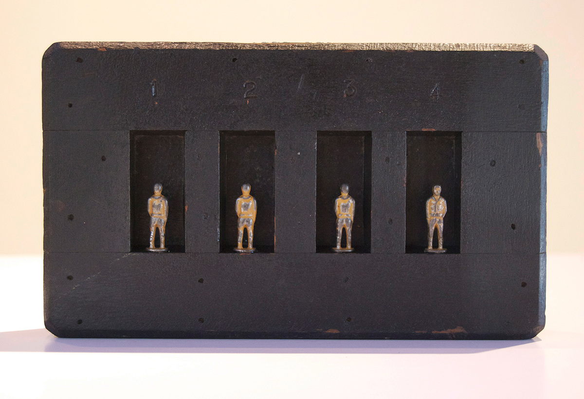 029 – Four,  2014 Mixed media 5 x 9 x 1.5 inches