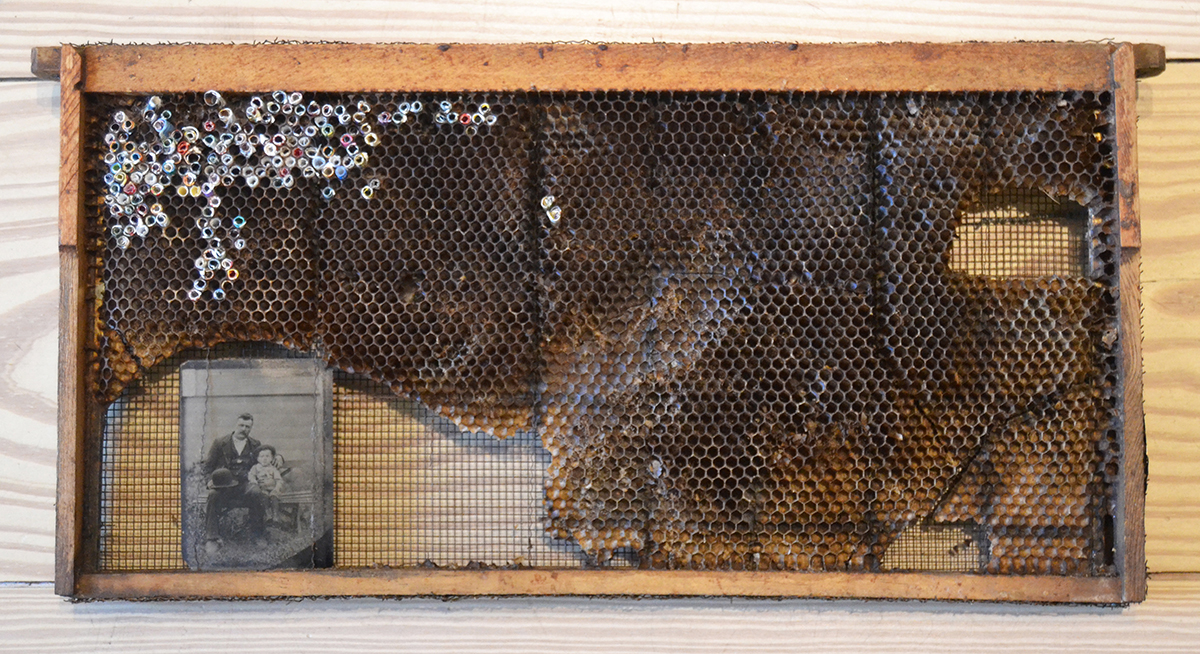 040 – Collection of Anna Gowan,  2014 Mixed media 9.5 x 18.25 x 1.25 inches