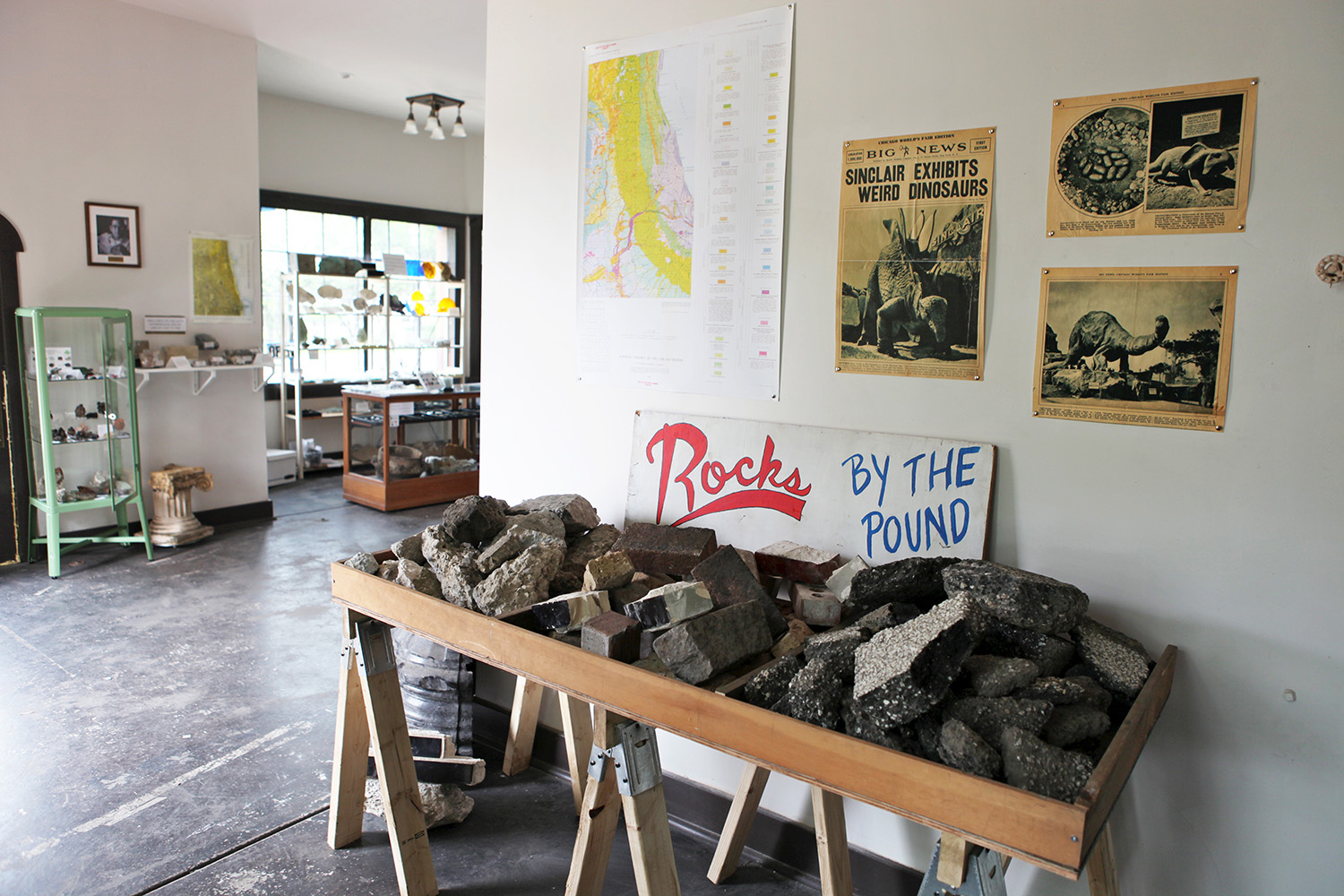 Installation view of  Golden Spike Rock Shop of the Anthropocene